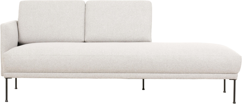 Chaise longue Fluente, Bekleding: 80% polyester, 20% ramie, Frame: massief grenenhout, Poten: gepoedercoat metaal, Geweven stof beige, B 202 x D 85 cm