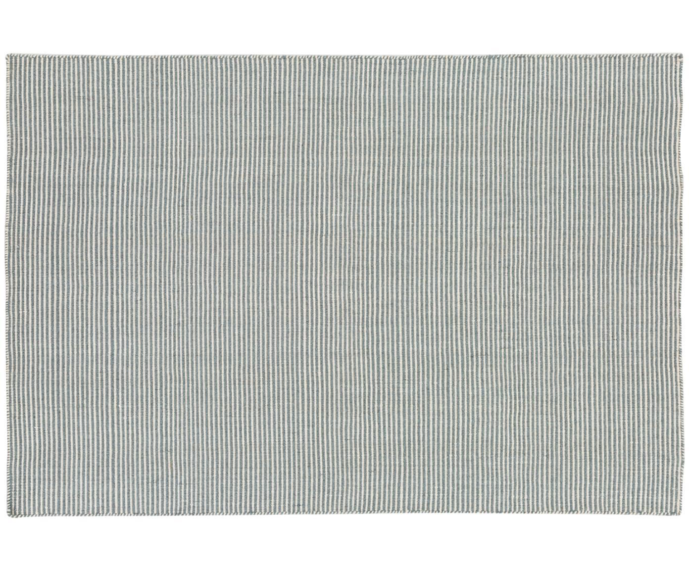 Fein gestreifter Wollteppich Ajo in Blau-Creme, handgewebt, Graublau, Creme, B 140 x L 200 cm (Grösse S)