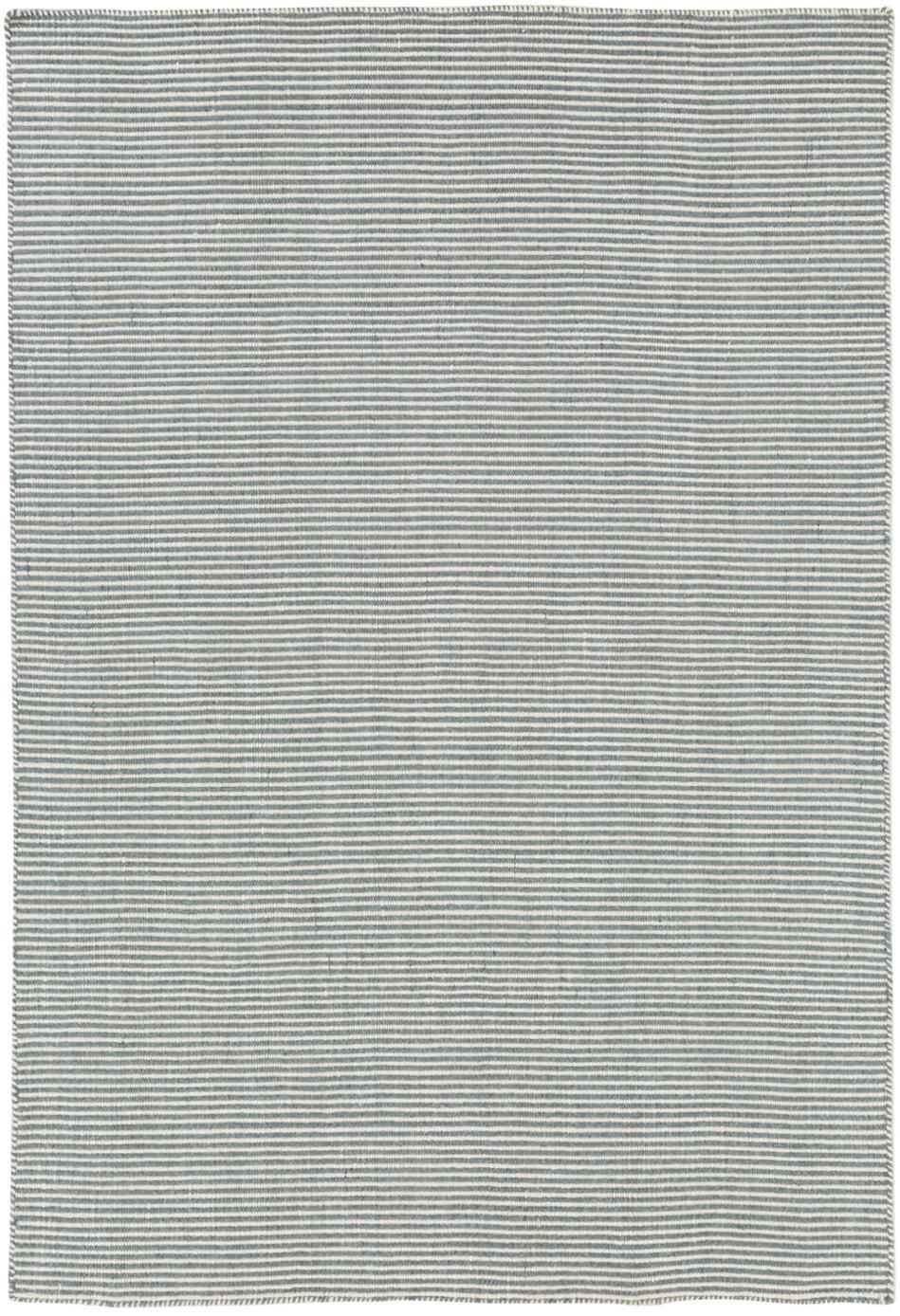Fein gestreifter Wollteppich Ajo in Blau-Creme, handgewebt, Graublau, Creme, B 140 x L 200 cm (Größe S)