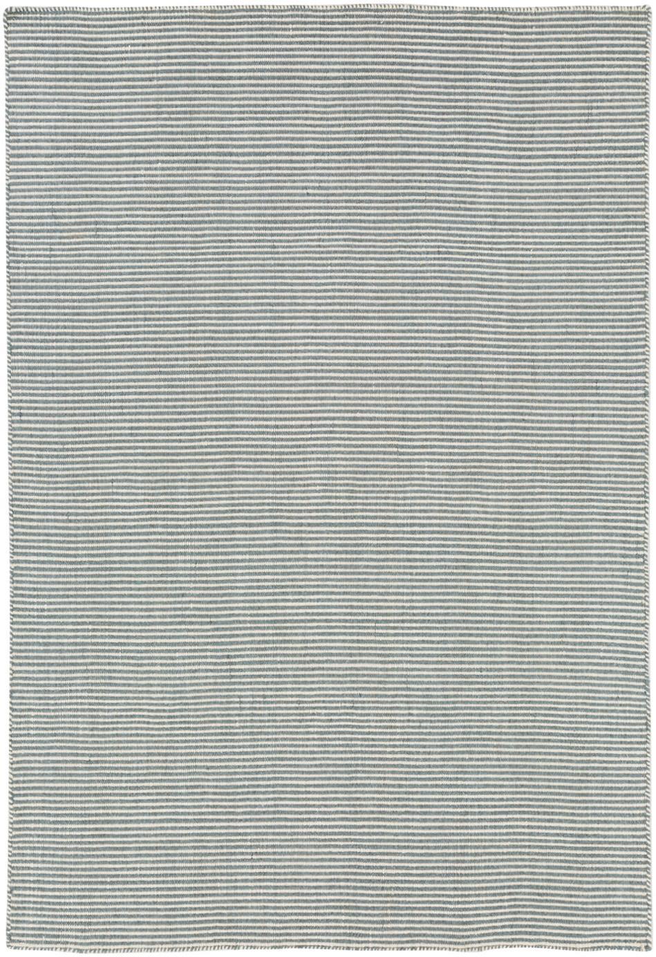 Fijn gestreepte wollen vloerkleed Ajo in blauw-crèmekleur, handgeweven, Grijsblauw, crèmekleurig, 140 x 200 cm