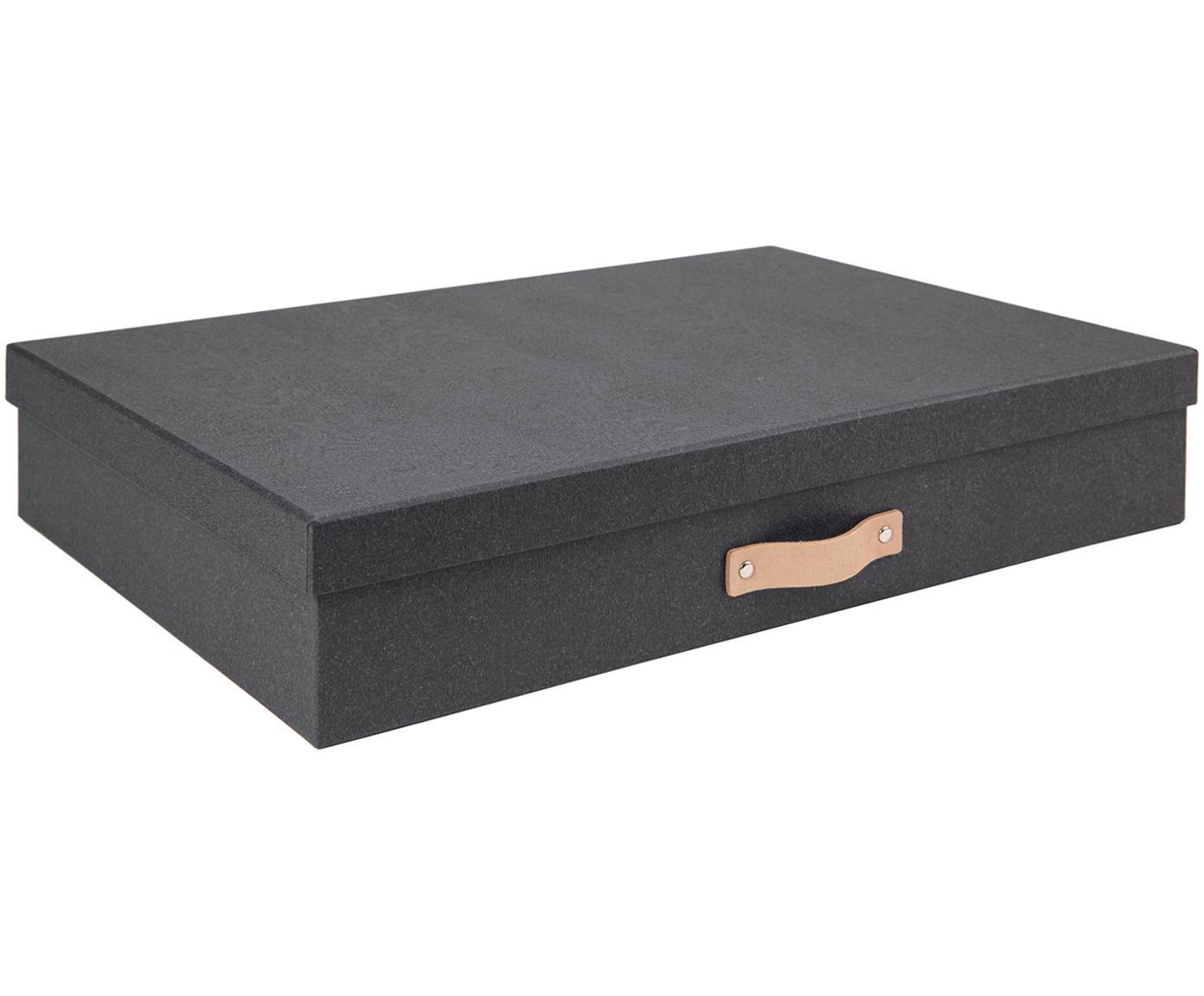 Caja Sverker II, Asa: cuero, Exterior: negro Interior: negro Asa: beige, An 44 x Al 9 cm