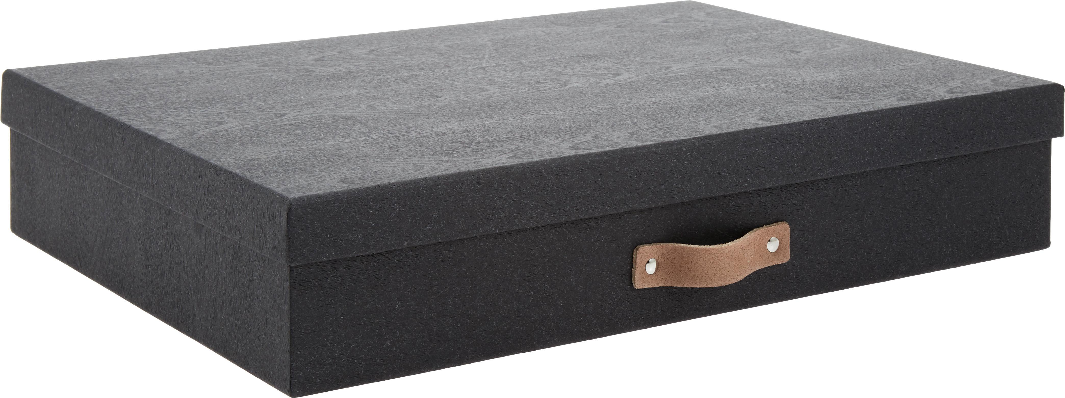 Opbergdoos  Sverker II, Doos: massief karton, met houtd, Organizer buitenzijde: zwart Organizer binnenzijde: zwart Handvat: beige, 44 x 9 cm
