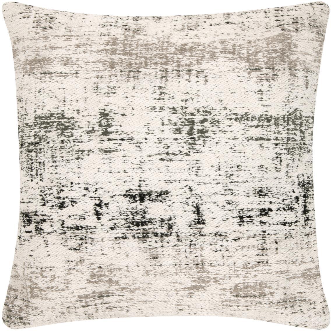 Funda de cojín Corinne, estilo vintage, Parte delantera: 90%algodón, 10%poliéste, Parte trasera: 100%algodón, Blanco crema, negro, gris, An 45 x L 45 cm