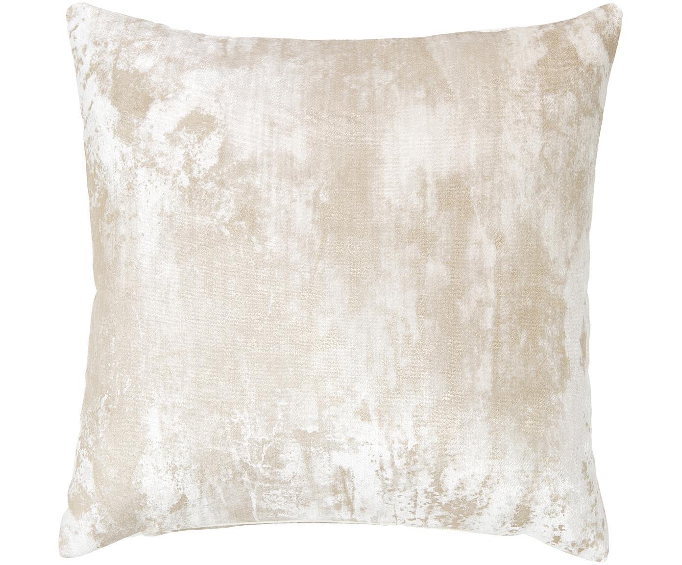Fluwelen kussenhoes Shiny met glinsterend vintage patroon, Polyester fluweel, Crèmekleurig, 40 x 40 cm