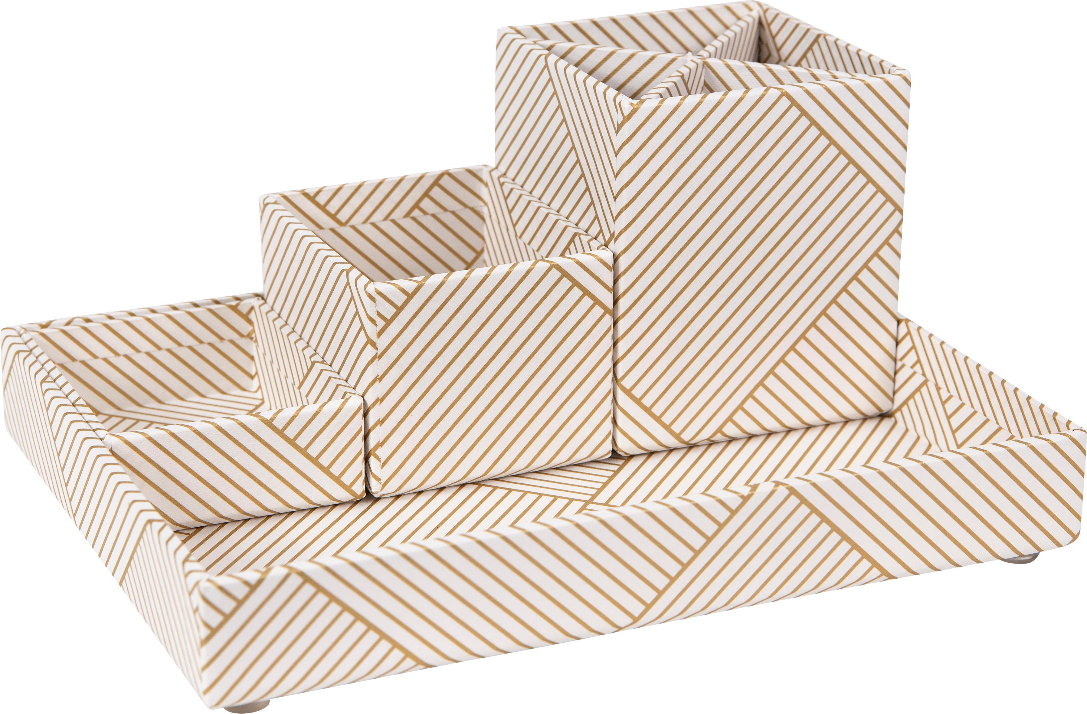 Bureau organizerset Lena, 4-delig, Massief, gelamineerd karton, Goudkleurig, wit, Verschillende formaten