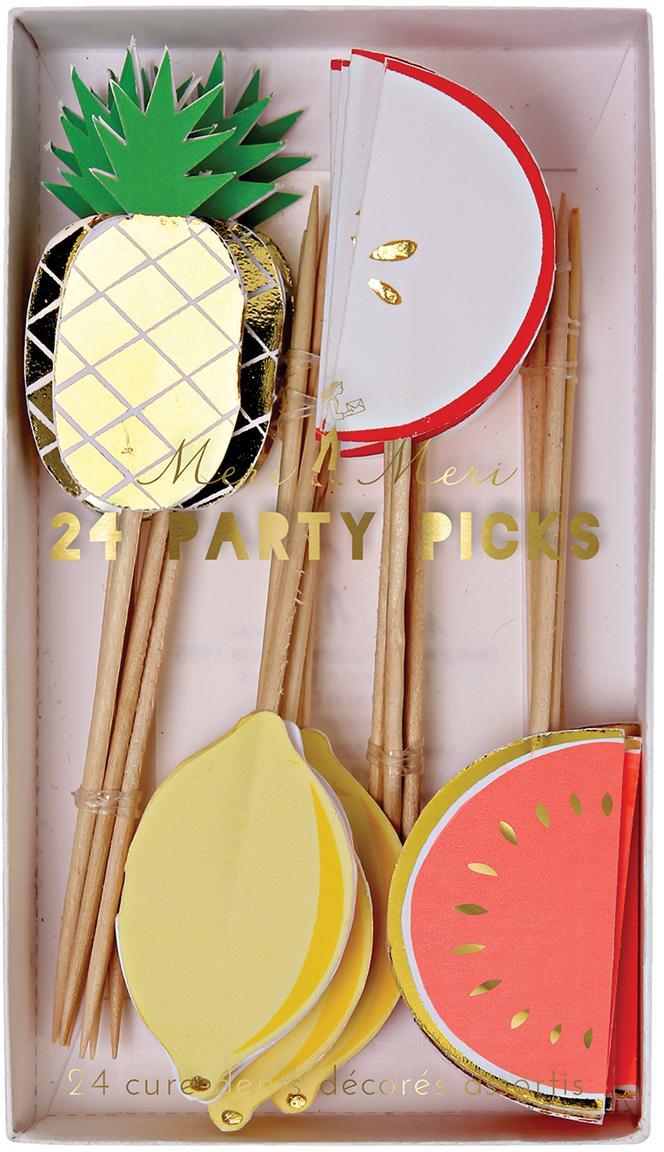 Set de fiesta Fruit Party, 24pzas., Papel, madera, Multicolor, L 11 x An 2 cm