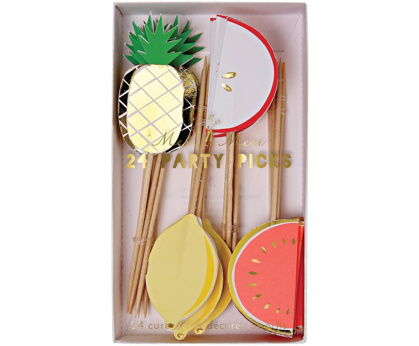 Partyspiezenset Fruit Party, 24-delig, Papier, hout, Multicolour, 11 x 2 cm