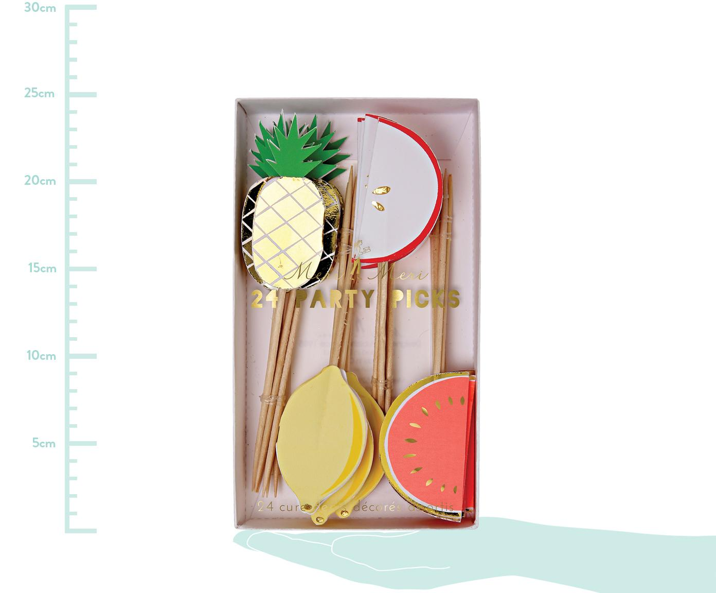 Partyspieße-Set Fruit Party, 24-tlg., Papier, Holz, Mehrfarbig, 2 x 11 cm