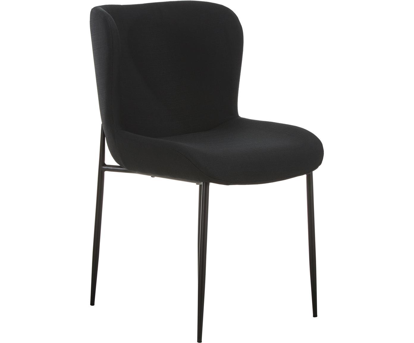 Gestoffeerde stoel Tess, Bekleding: polyester, Poten: gepoedercoat metaal, Geweven stof zwart, poten zwart, B 48 x D 64 cm