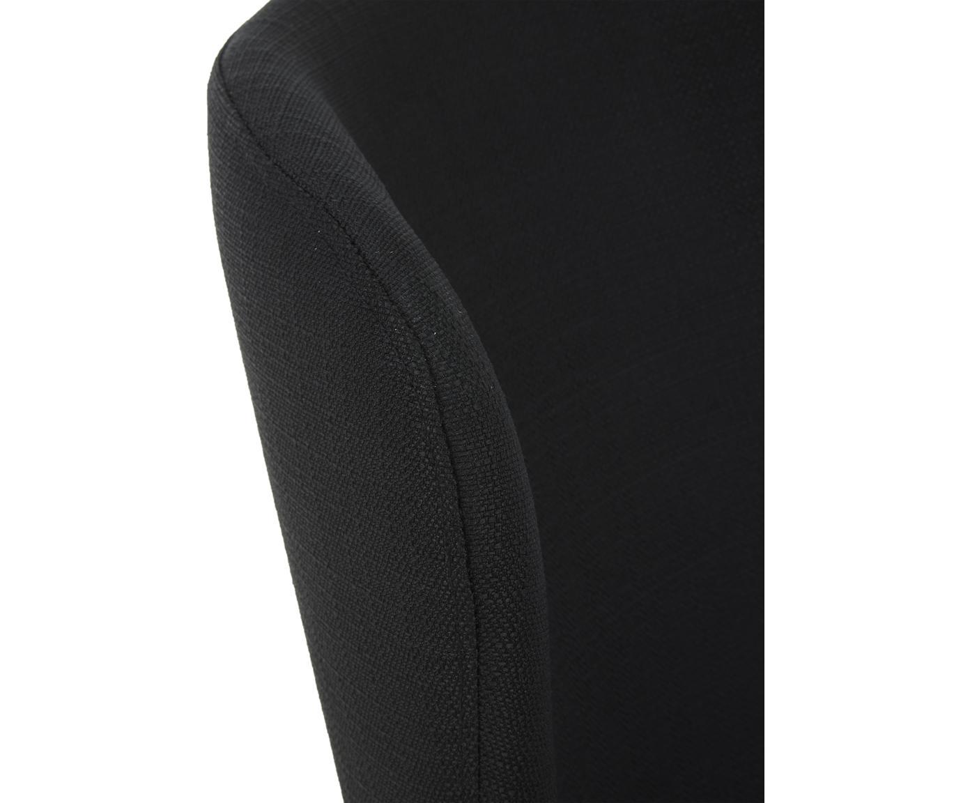Polsterstuhl Tess, Bezug: Polyester 25.000 Scheuert, Beine: Metall, pulverbeschichtet, Webstoff Schwarz, Beine Schwarz, B 48 x T 64 cm