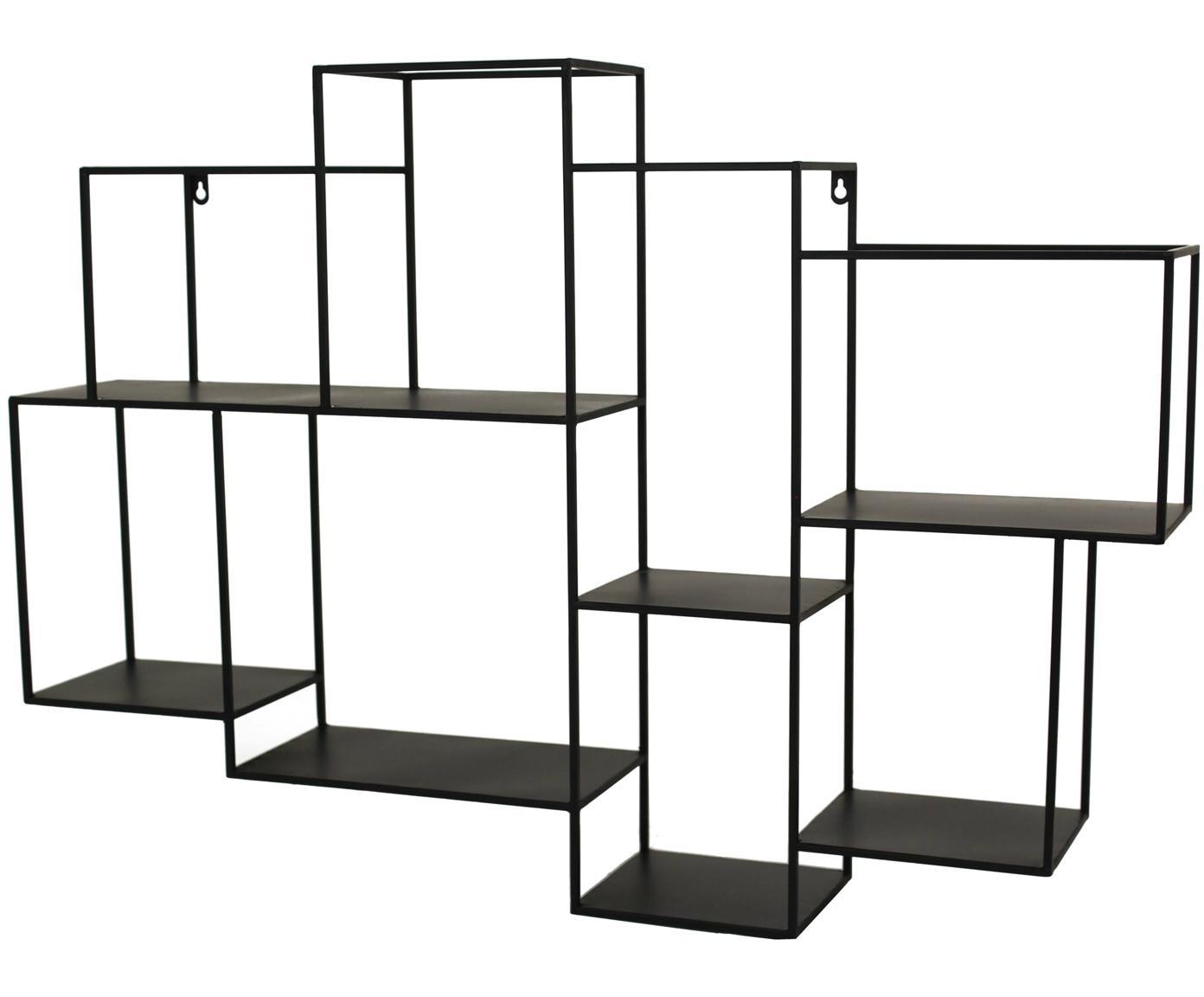 Metalen wandrek Parnke met 8 vakken, Gepoedercoat metaal, Zwart, 98 x 68 cm