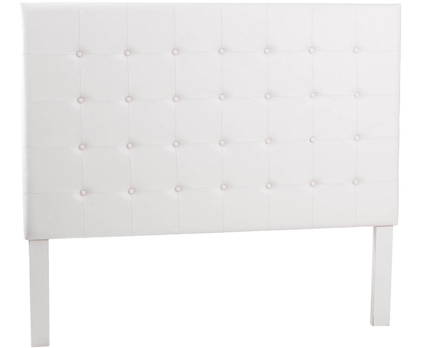 Cabecero de cuero sintético Jay, Tapizado: cuero sintético, Estructura: tablero de fibras de dens, Blanco, An 160 x Al 140 cm