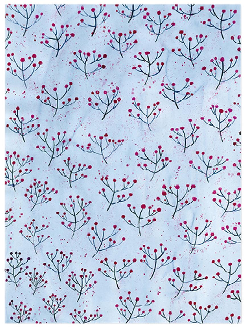 Geschenkpapier-Rollen Flowers, 3 Stück, Papier, Blau, Rot, 50 x 70 cm