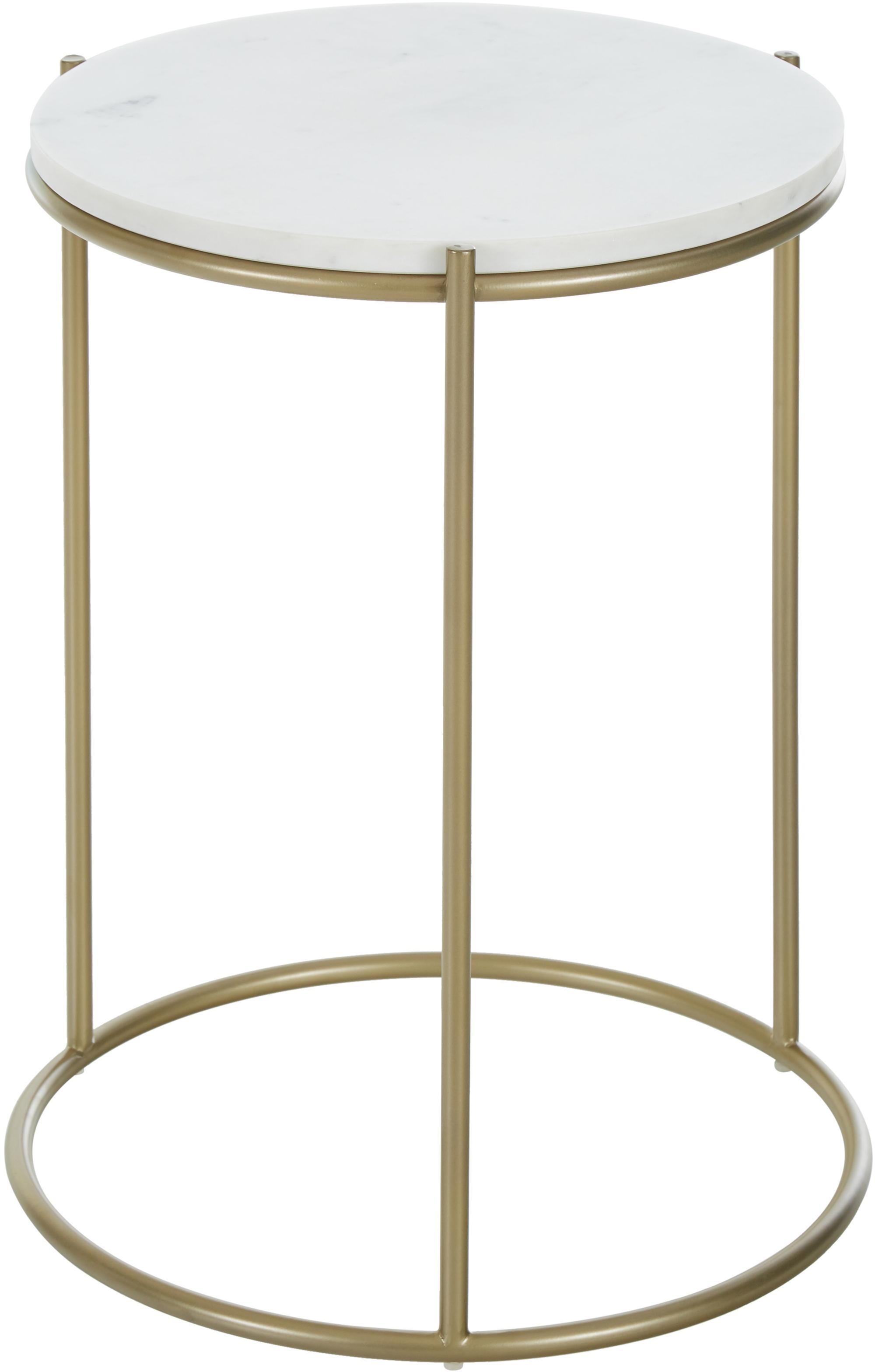 Okrągły stolik pomocniczy z marmuru Ella, Blat: marmur, Stelaż: metal malowany proszkowo, Blat: jasny marmur Stelaż: odcienie złotego, matowy, Ø 40 x W 50 cm