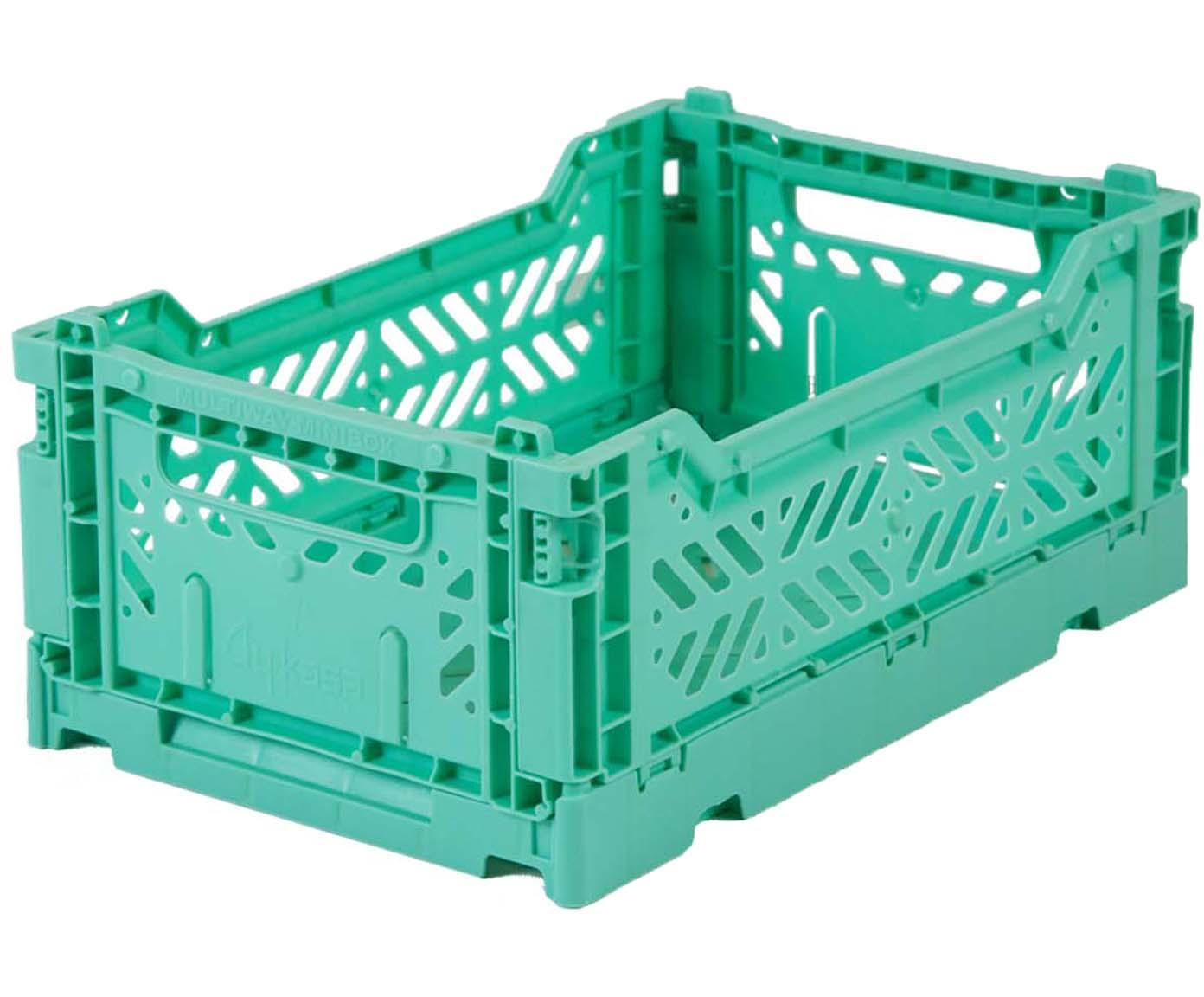 Caja pegable apilable Mint, pequeña, Plástico reciclado, Verde menta, An 27 x Al 11 cm