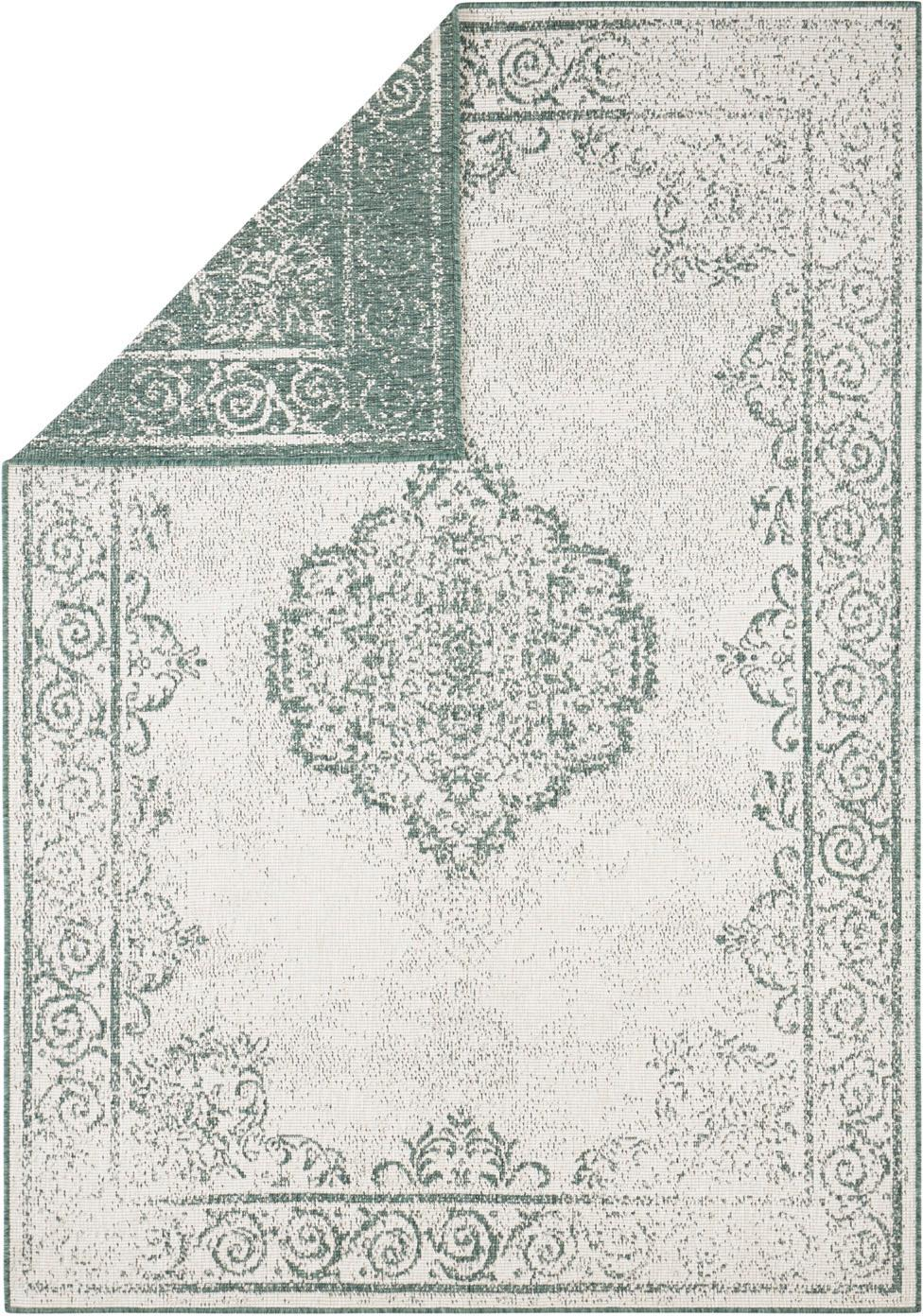 In- & Outdoor-Wendeteppich Cebu im Vintage Look, Grün/Creme, 100% Polypropylen, Grün, Creme, B 80 x L 150 cm (Größe XS)