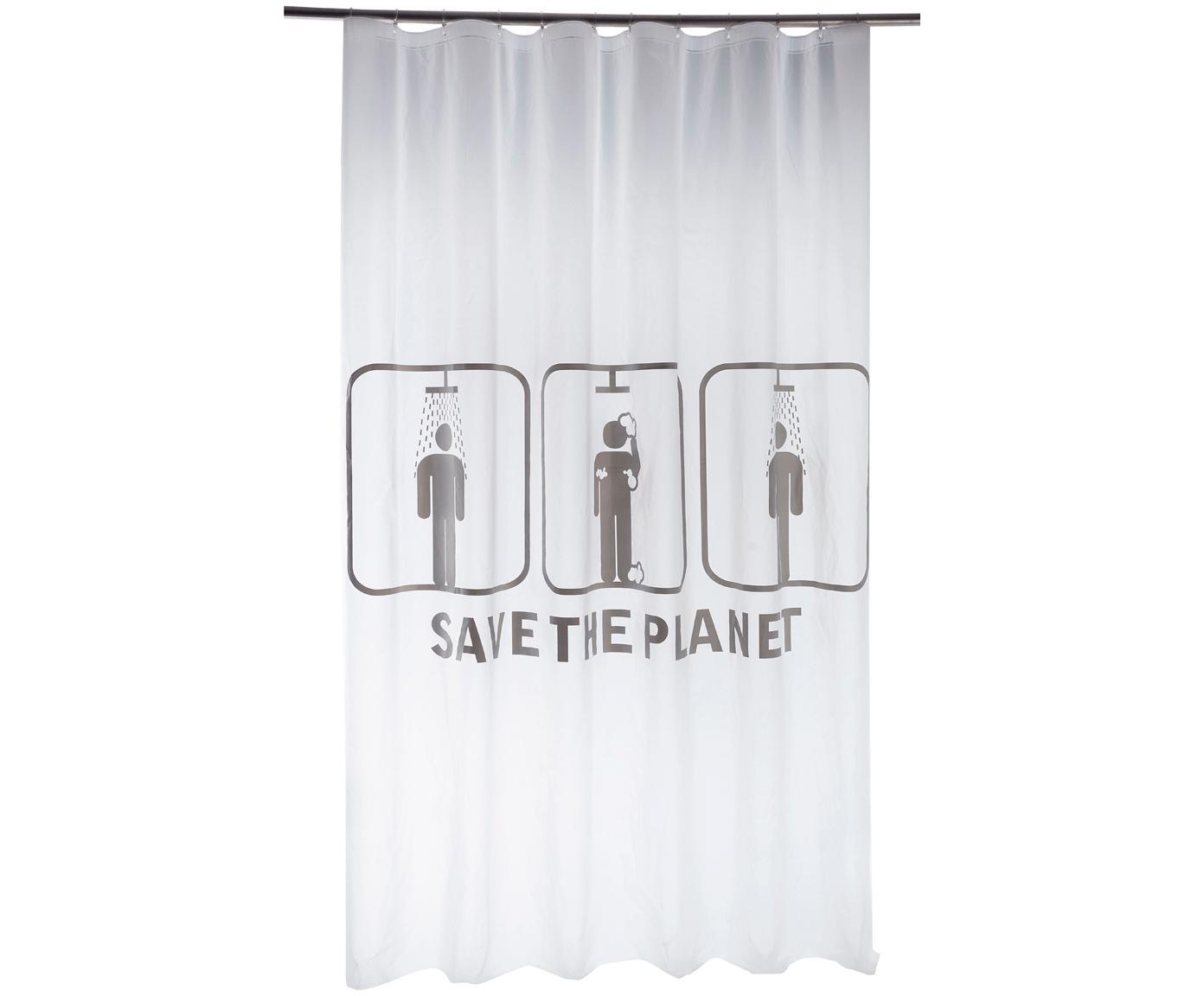 Douchegordijn Save the Planet, Wit, grijs, 180 x 200 cm