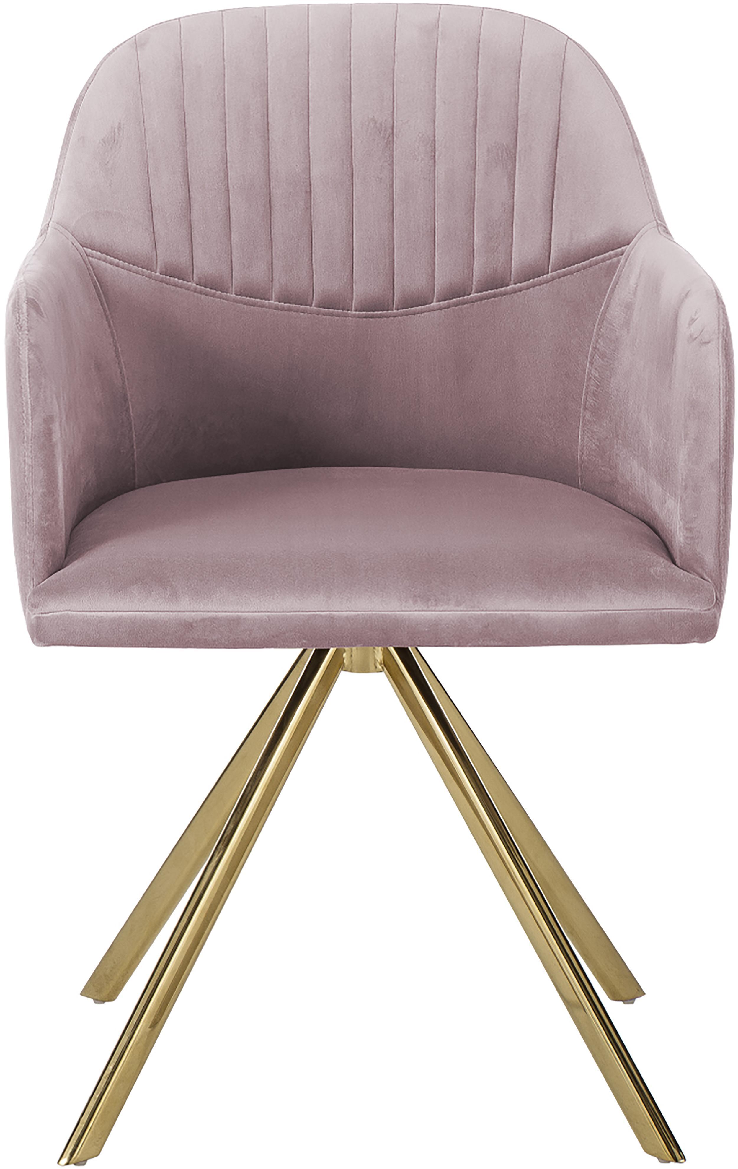 Chaise pivotante en velours avec accoudoirs  Lola, Velours mauve, pieds or