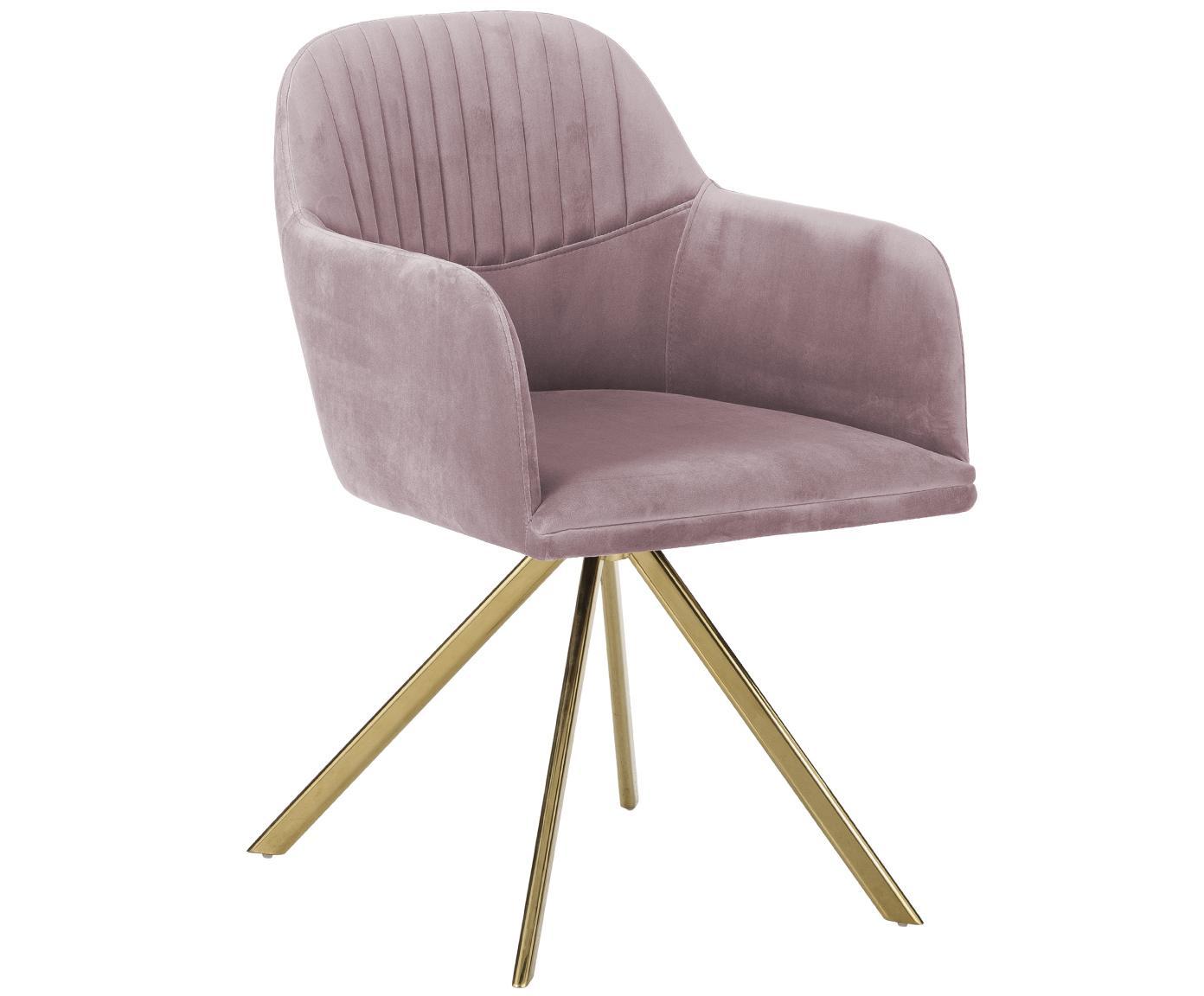 Sedia girevole in velluto con braccioli Lola, Rivestimento: velluto (100% poliestere), Gambe: metallo, zincato, Velluto malva, gambe oro, Larg. 55 x Prof. 52 cm