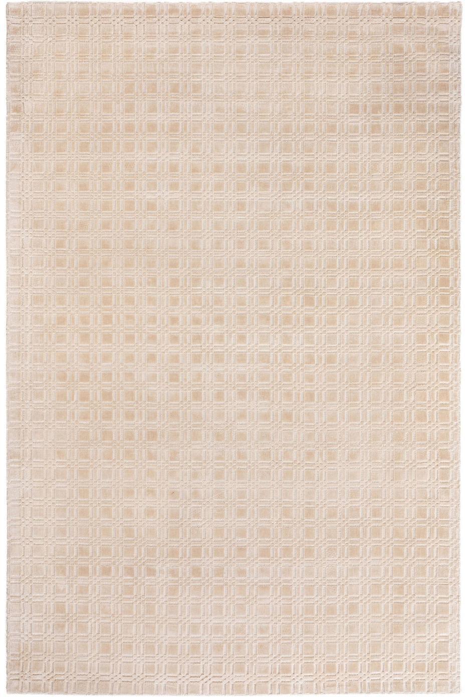 Handgewebter Viskoseteppich Nelson mit Wabenstruktur, flauschig glänzend, 100% Viskose, Cream, B 200 x L 300 cm (Größe L)