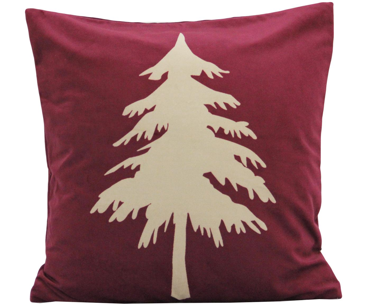 Funda de cojín de terciopelo Christmas Tree, Terciopelo de poliéster, Rojo, beige, An 45 x L 45 cm