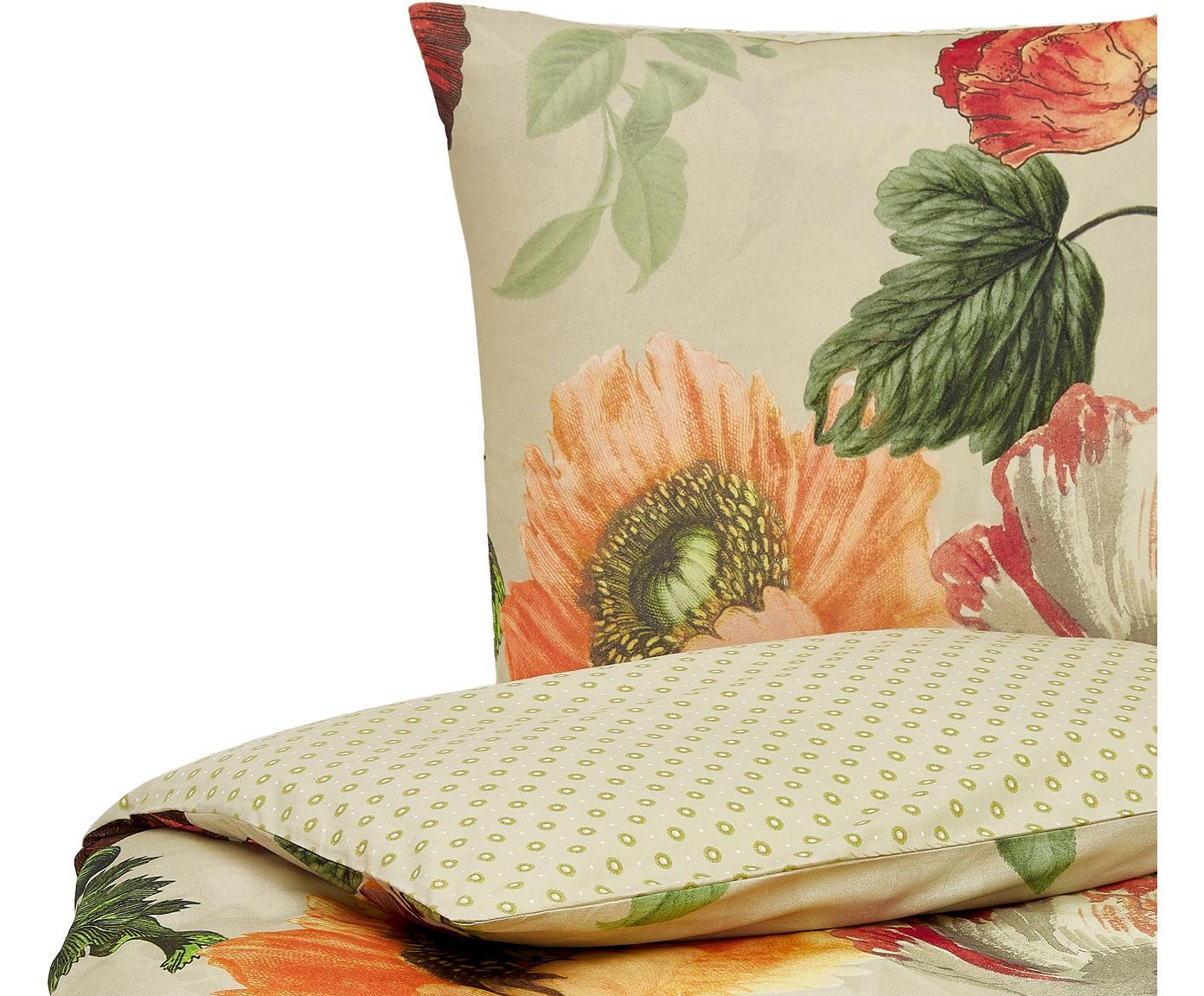 Flanell-Wendebettwäsche Esmee mit Blumen-Muster, Webart: Flanell Fadendichte 81 TC, Graugrün, Mehrfarbig, 135 x 200 cm + 1 Kissen 80 x 80 cm