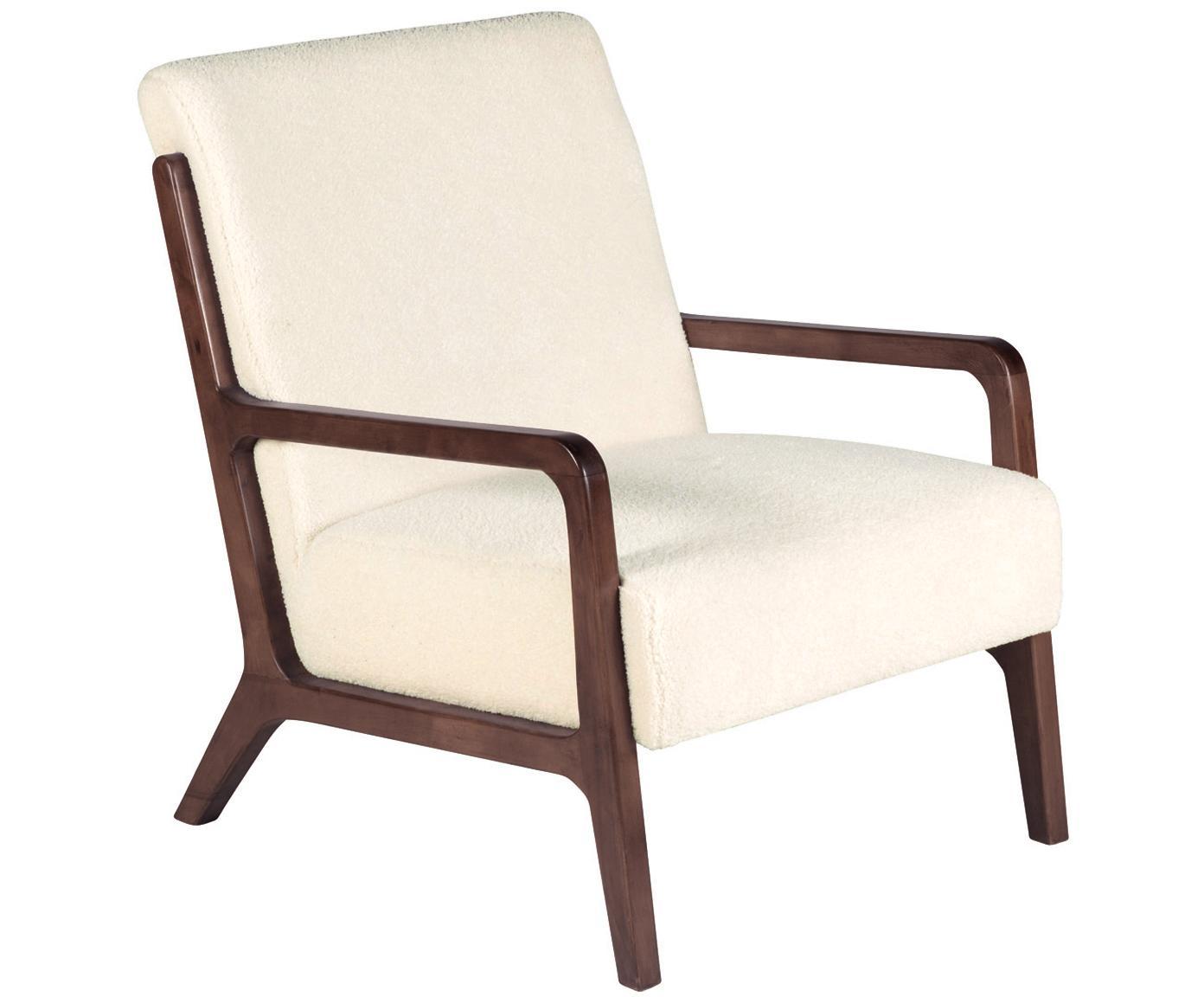 Fotel Teddy Naia, Tapicerka: poliester (sztuczne futro, Stelaż: drewno dębowe, masywne i , Złamana biel, S 76 x G 67 cm