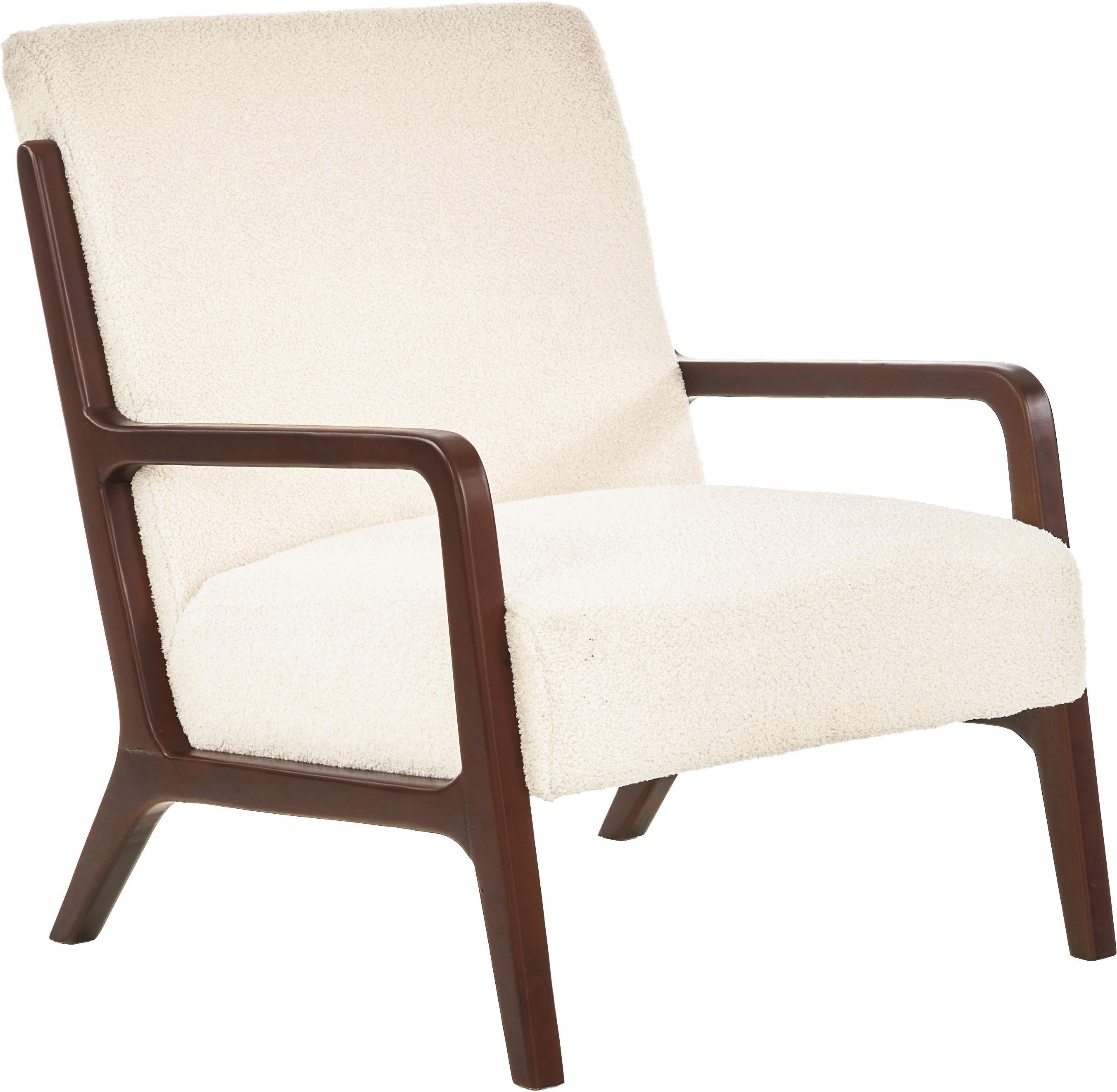 Teddy-fauteuil Naia met eikenhouten armleuningen, Bekleding: polyester (kunstvacht, te, Frame: massief en geolied eikenh, Gebroken wit, B 76 x D 67 cm