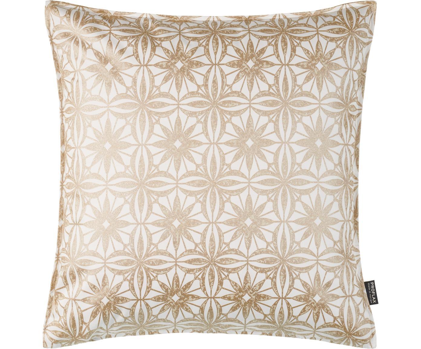 Poszewka na poduszkę Alexis, Bawełna, Biały, beżowy, odcienie złotego, S 40 x D 40 cm