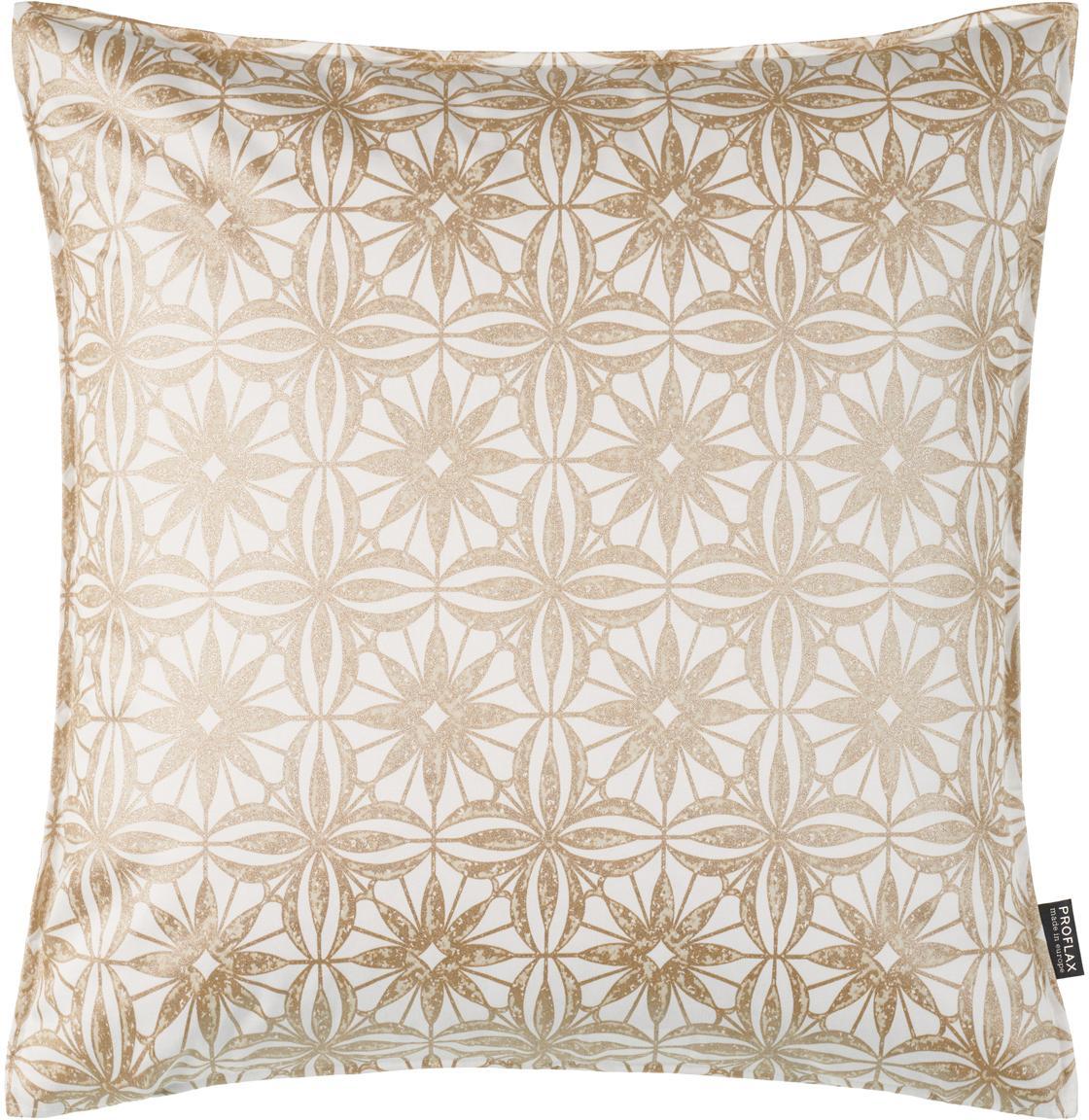 Kissenhülle Alexis mit Muster in Gold- und Beigetönen, Baumwolle, Weiß, Beige, Goldfarben, 40 x 40 cm