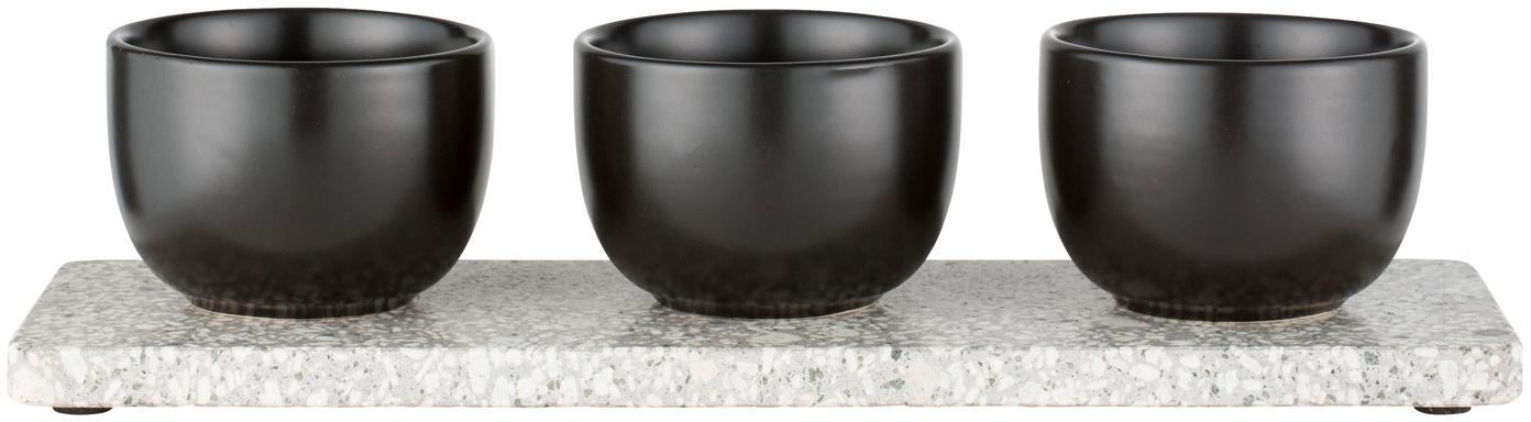 Set de cuencos Tessia, 4pzas., Cuencos: cerámico, Bandeja: piedra de terrazo, Negro, blanco, gris, An 10 x L 30 cm
