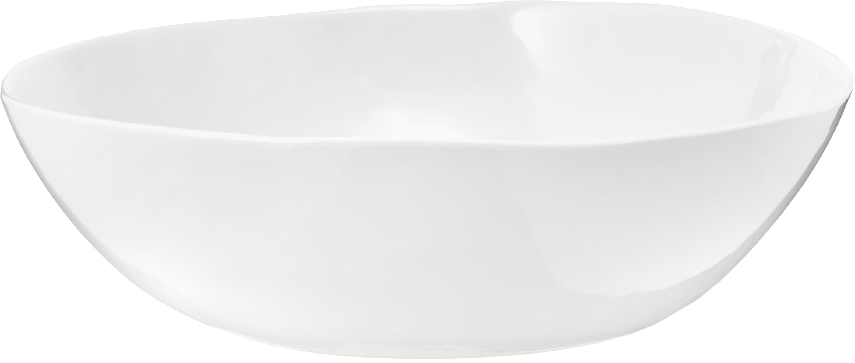 Ovale Schüssel Porcelino mit unebener Oberfläche, Porzellan, gewollt ungleichmäßig, Weiß, B 33 x T 37 cm