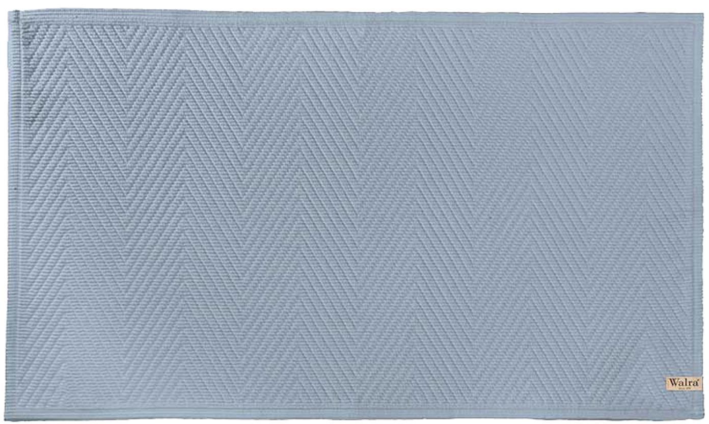 Zachte katoenen badmat met visgraatmotief, Katoen, Blauw, 60 x 100 cm