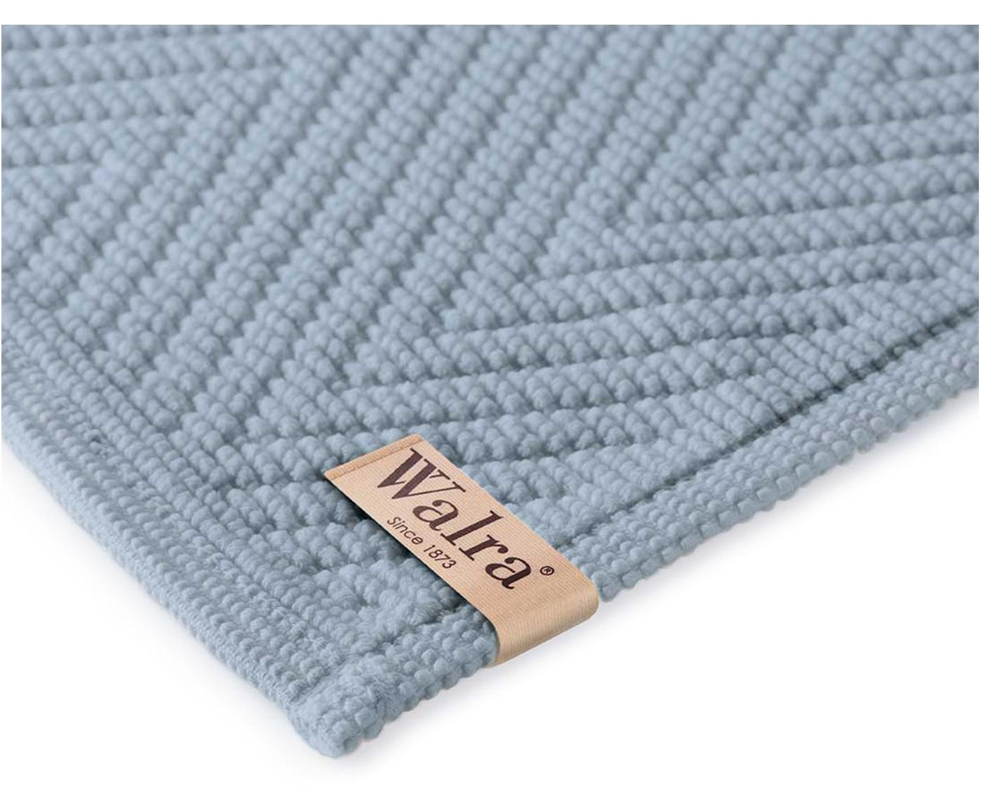 Badvorleger Soft Cotton mit Fischgrätmuster, 100% Baumwolle, Blau, 60 x 100 cm