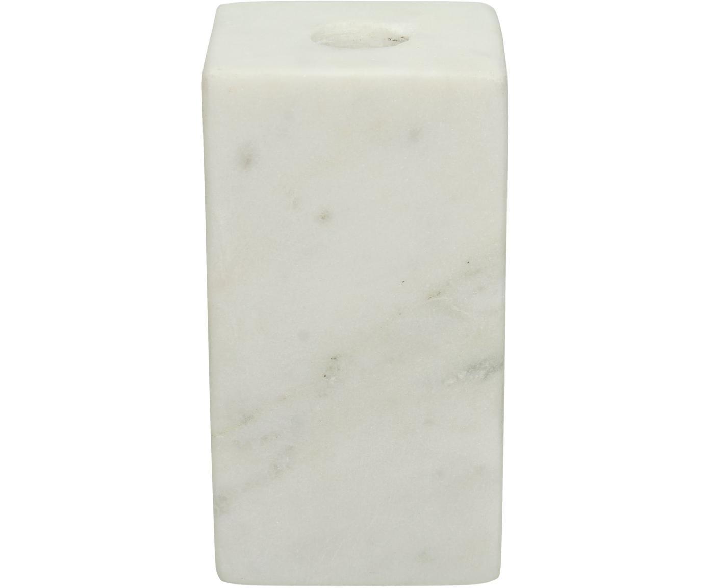 Marmor-Kerzenhalter Marble, Marmor, Weiß, 6 x 11 cm