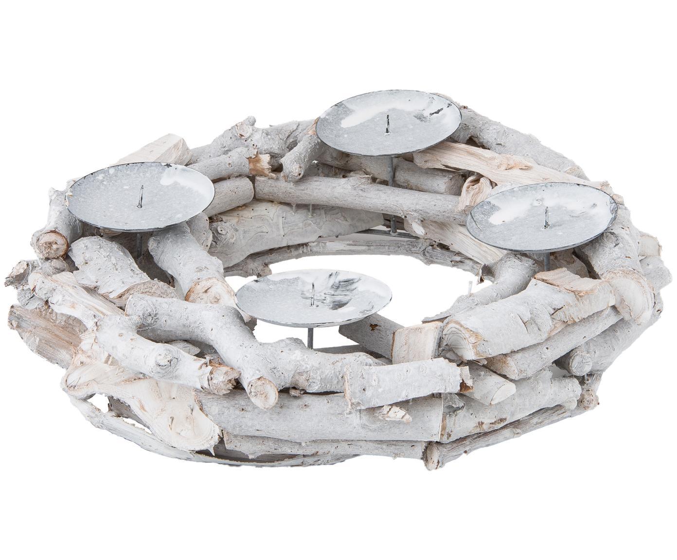 Adventskrans Zweig, Gelakt hout, Wit, Ø 32 cm