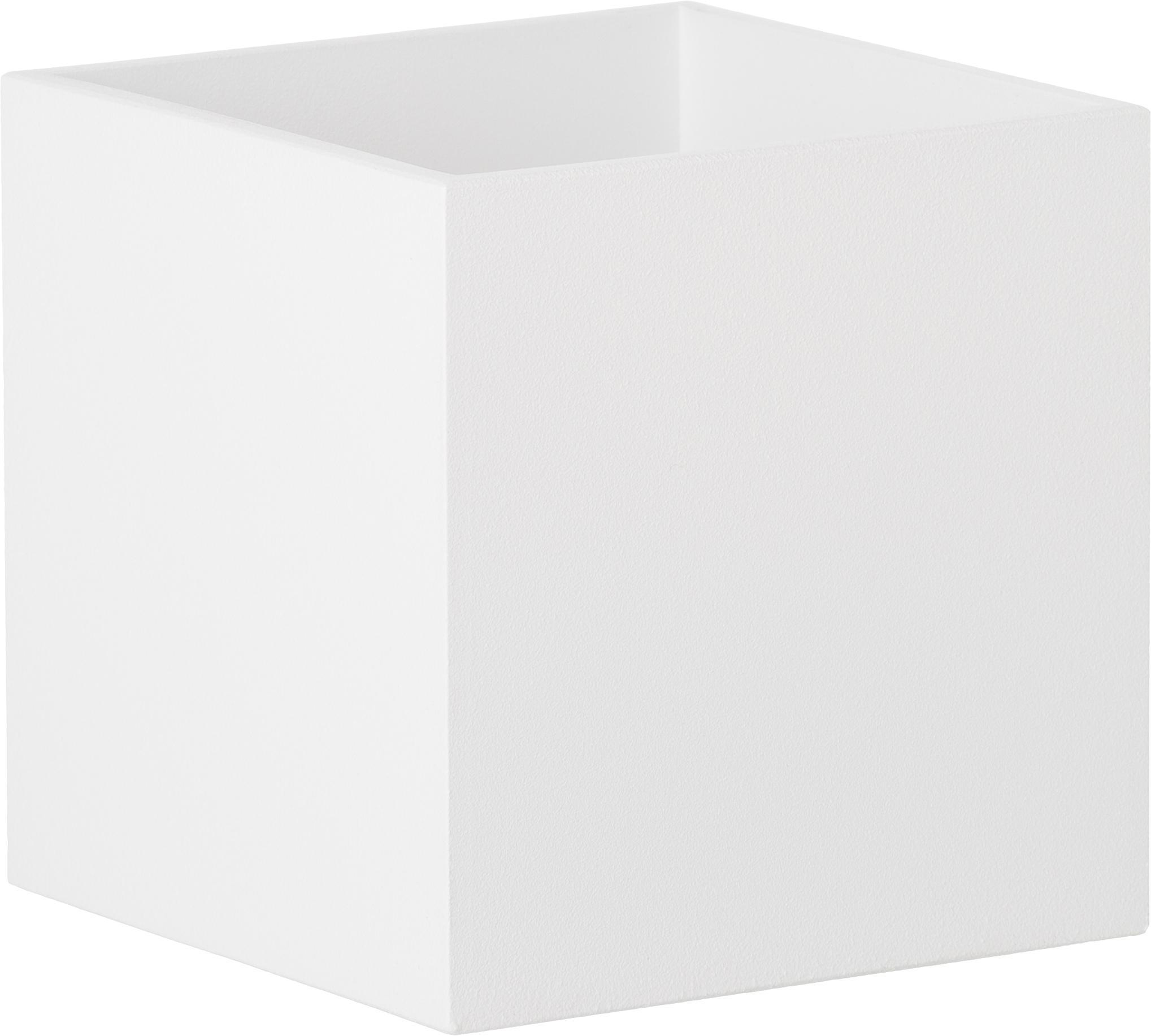 Wandleuchte Quad in Weiß, Aluminium, pulverbeschichtet, Weiß, 10 x 10 cm
