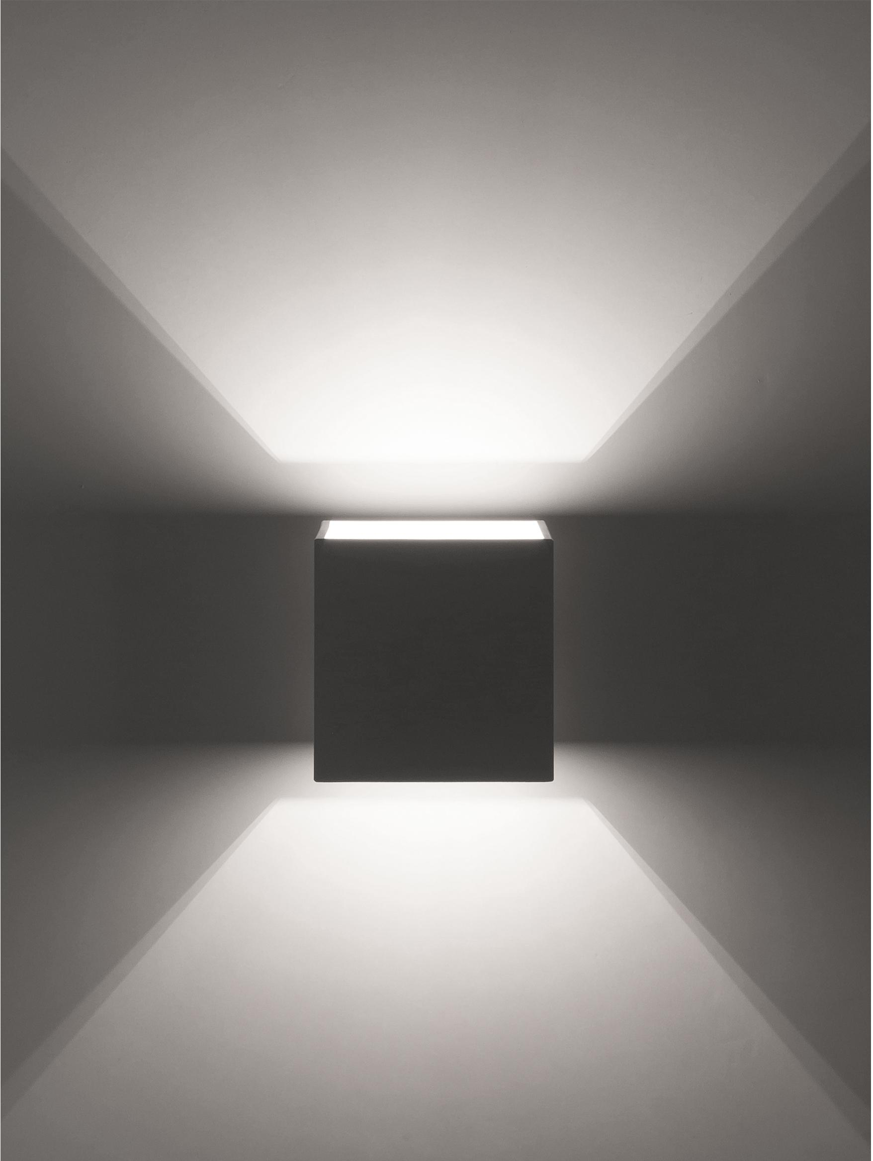 Wandleuchte Quad, Aluminium, pulverbeschichtet, Weiß, 10 x 10 cm