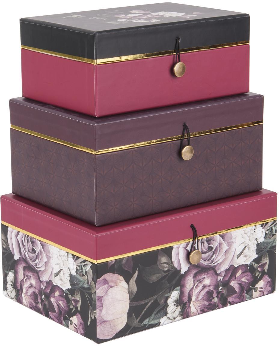 Geschenkboxen-Set Flowers, 3-tlg., Papier, Lila, Pink, Sondergrößen