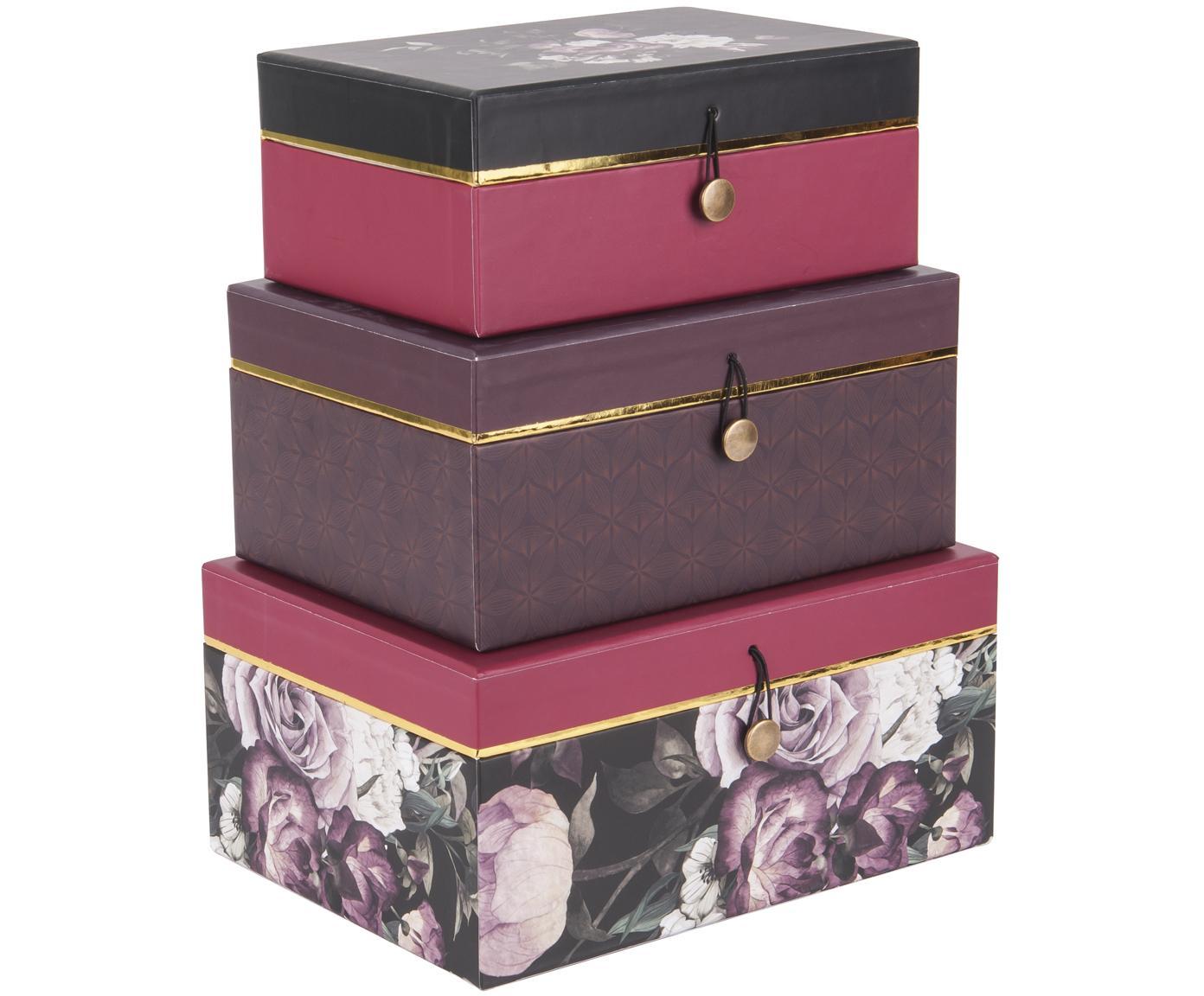Komplet pudełek prezentowych Flowers, 3 elem., Papier, Lila, różowy, Różne rozmiary