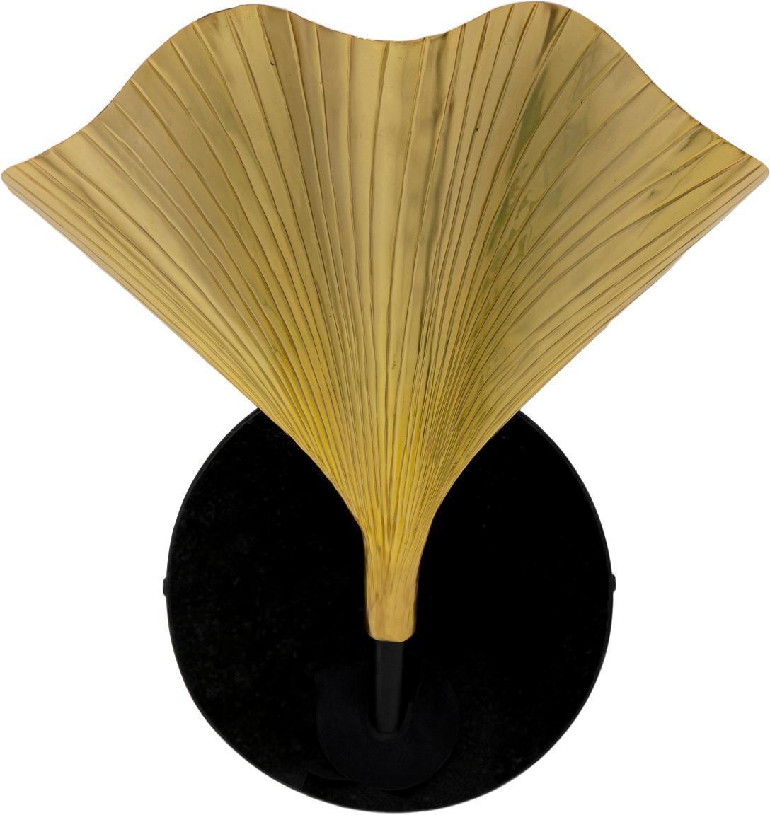 Applique a forma di fiore Ginkgo, Paralume: alluminio verniciato, Asta: acciaio verniciato a polv, Oro, nero, Larg. 30 x Alt. 33 cm