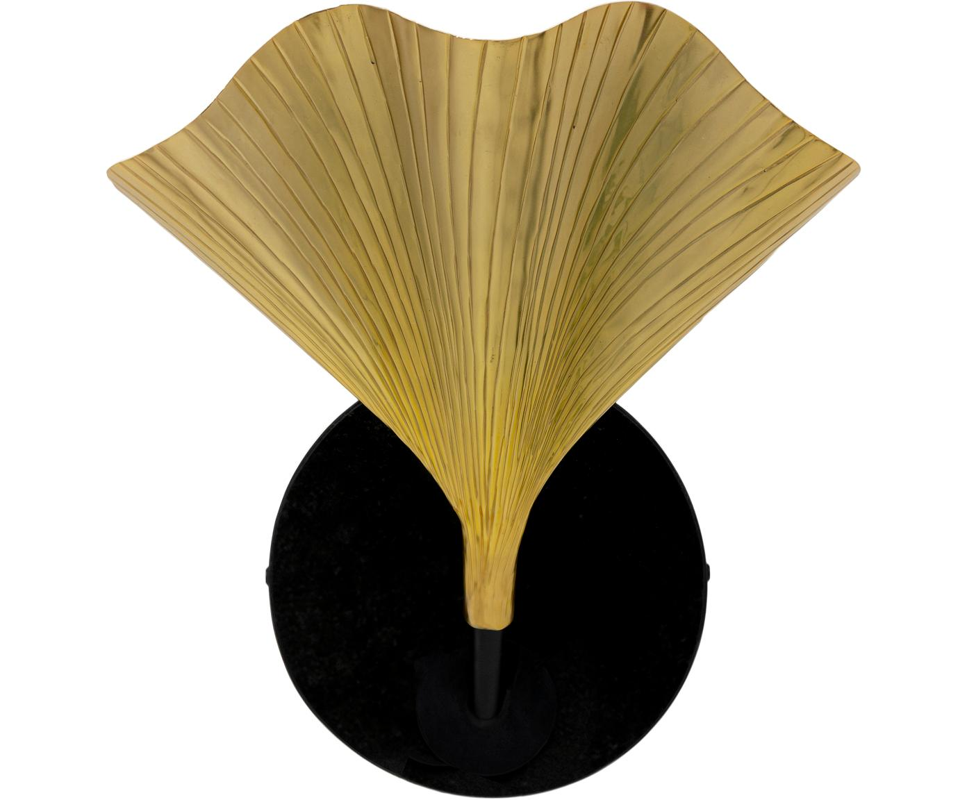 Wandlamp Ginkgo met marmeren bevestiging, Lampenkap: gelakt aluminium, Goudkleurig, zwart, 30 x 33 cm