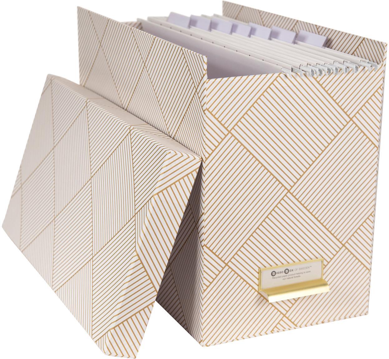 Hängeregister-Box Johan, 9-tlg., Organizer: Fester, laminierter Karto, Goldfarben, Weiss, 19 x 27 cm