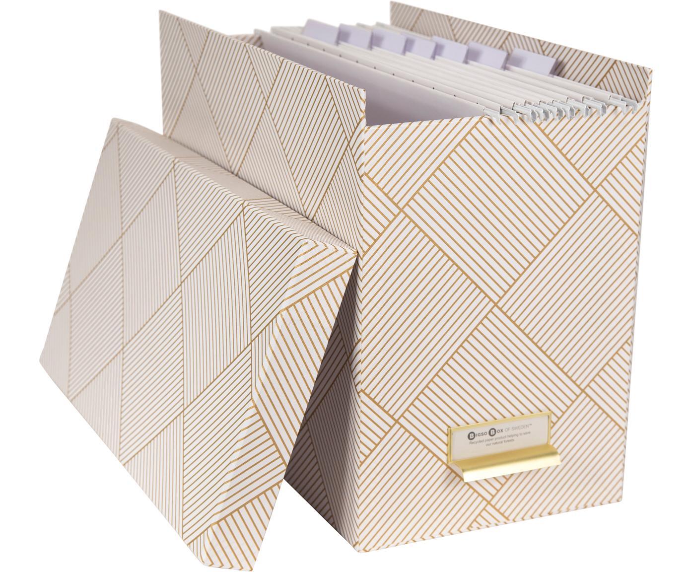 Set scatola-archivio per documenti Johan 9 pz, Organizer: solido, cartone laminato, Dorato, bianco, Larg. 19 x Alt. 27 cm