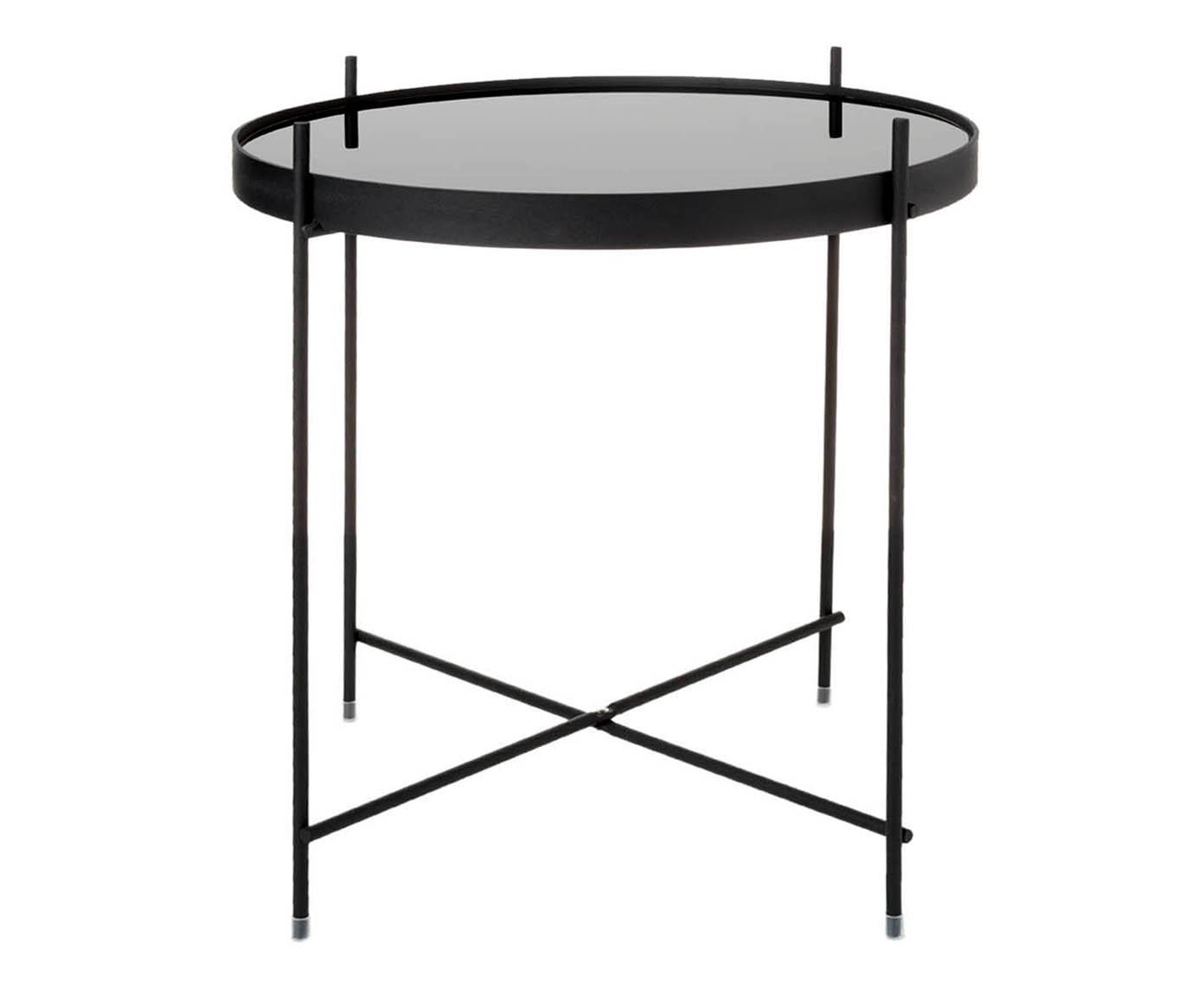 Mesa auxiliar con bandeja de cristal extraíble Cupid, Estructura: hierrocon pintado en polv, Tablero: vidrio negro, Negro, Ø 43 x Al 45 cm