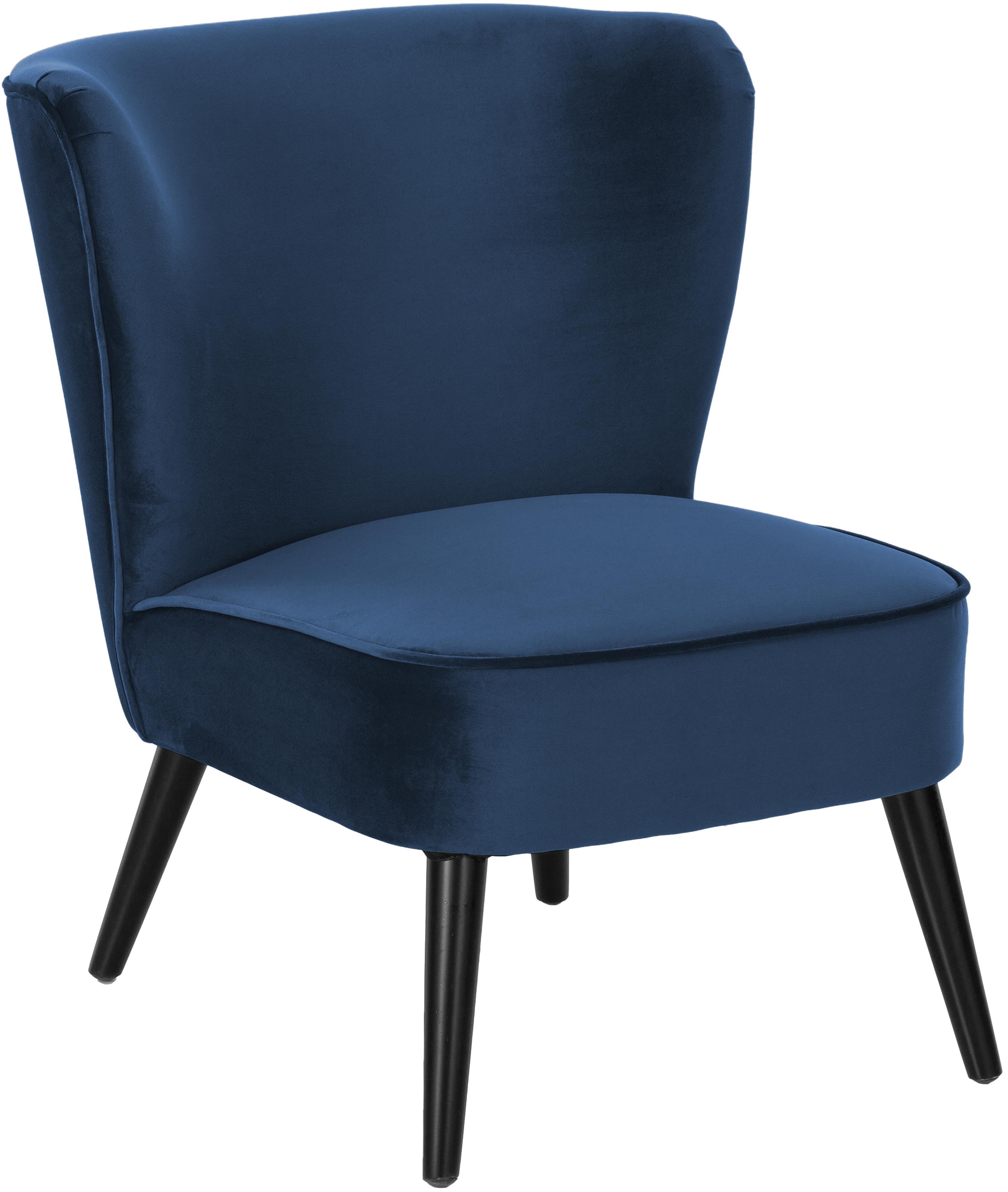 Fluwelen fauteuil Robine, Bekleding: fluweel (polyester), Poten: gelakt grenenhout, Donkerblauw, B 63 x D 73 cm