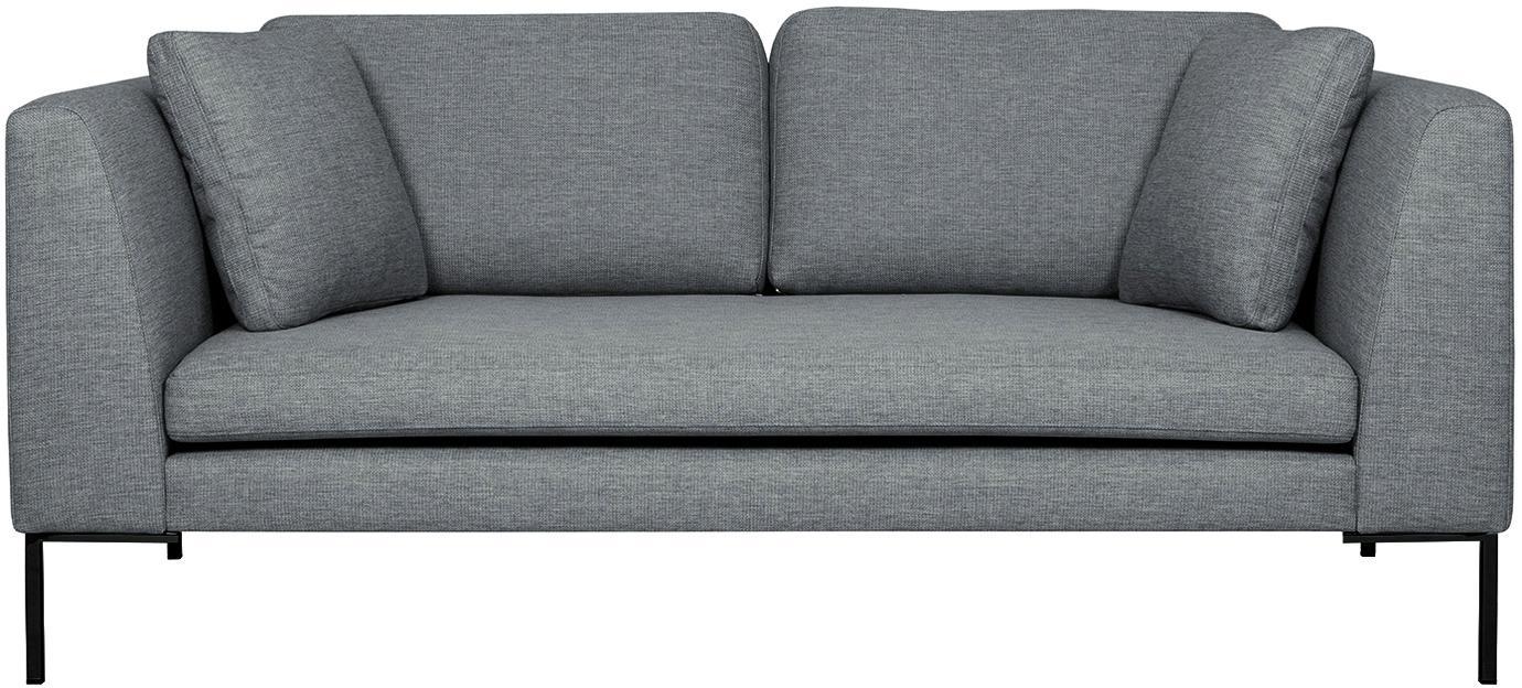 Sofa Emma (2-Sitzer), Bezug: Polyester 100.000 Scheuer, Gestell: Massives Kiefernholz, Webstoff Grau, Füsse Schwarz, B 194 x T 100 cm