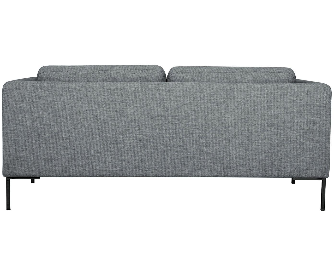Sofa Emma (2-Sitzer), Bezug: Polyester 100.000 Scheuer, Gestell: Massives Kiefernholz, Füße: Metall, pulverbeschichtet, Webstoff Grau, Füße Schwarz, B 194 x T 100 cm