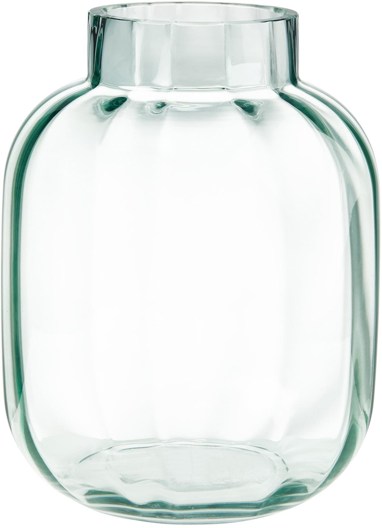 Jarrón de vidrio Betty, Vidrio, Verde claro transparente, Ø 18 x Al 22 cm