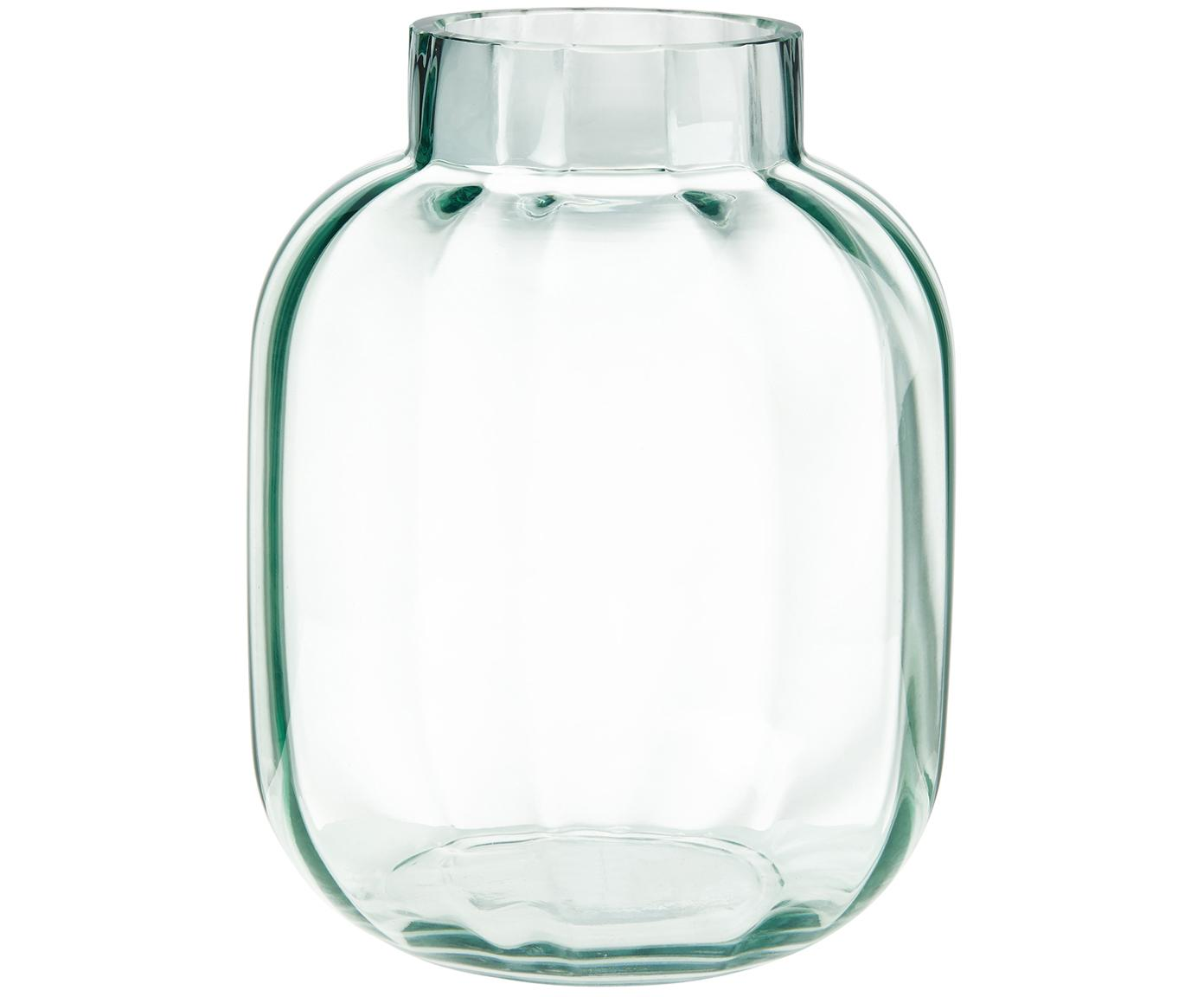 Glas-Vase Betty in Hellgrün, Glas, Hellgrün, transparent, Ø 18 x H 22 cm